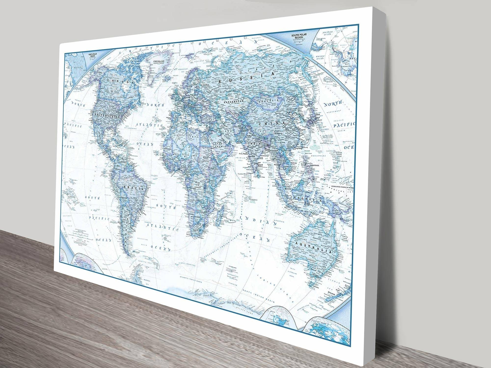 Blue World Map Canvas Wall Art Print Within Latest World Map Wall Art Print (View 18 of 20)