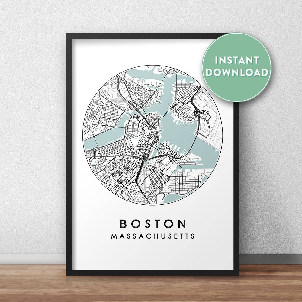 Boston City Print Instant Download Street Map Art Boston Map Intended For Latest Boston Map Wall Art (View 5 of 20)