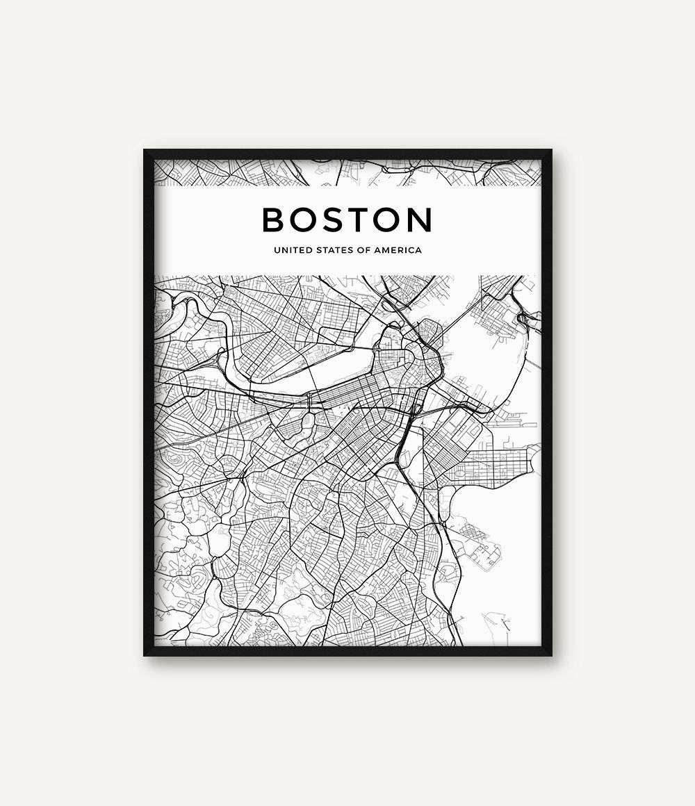 Boston Map Print Boston Print Black And White Boston City Regarding 2018 Boston Map Wall Art (View 13 of 20)
