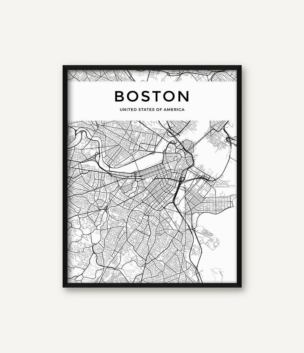 Boston Map Print Boston Print Black And White Boston City Regarding 2018 Boston Map Wall Art (View 7 of 20)