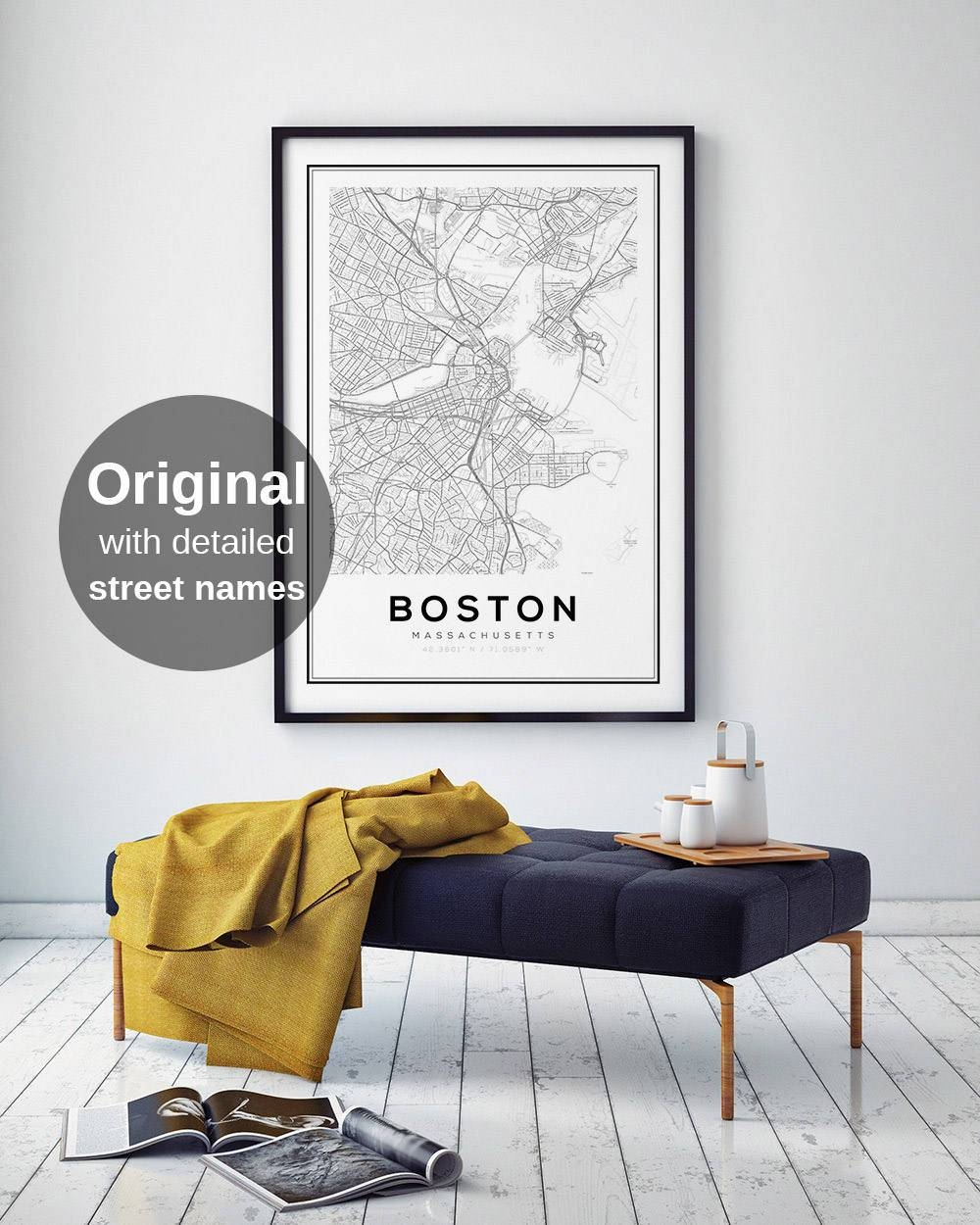 Boston Map Print City Map Decor City Map Wall Art Pertaining To Most Current Boston Map Wall Art (View 7 of 20)