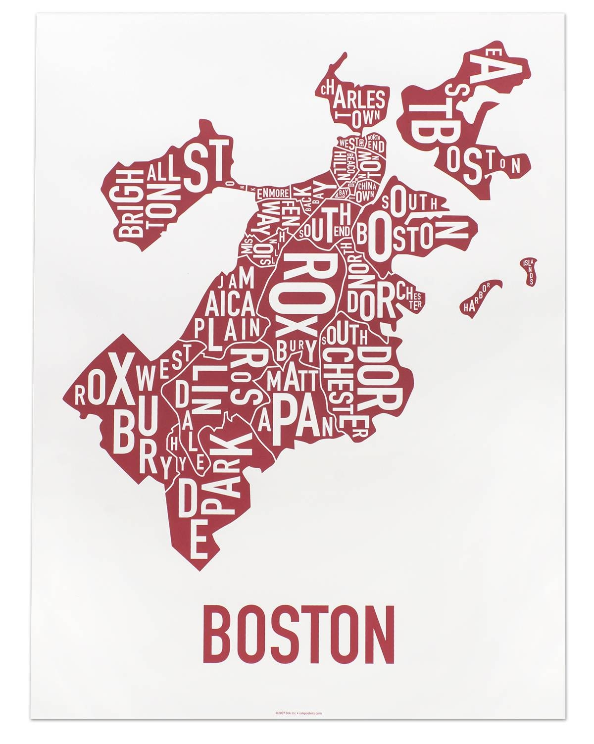 Boston Neighborhoods Map Posters & Prints – Unique, Modern Wall Decor Pertaining To 2018 Chicago Neighborhood Map Wall Art (View 2 of 20)