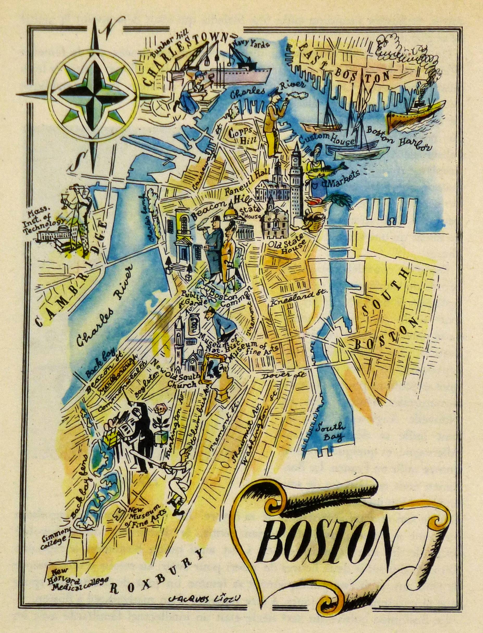 Boston Pictorial Map, 1946 Pertaining To 2017 Boston Map Wall Art (View 9 of 20)
