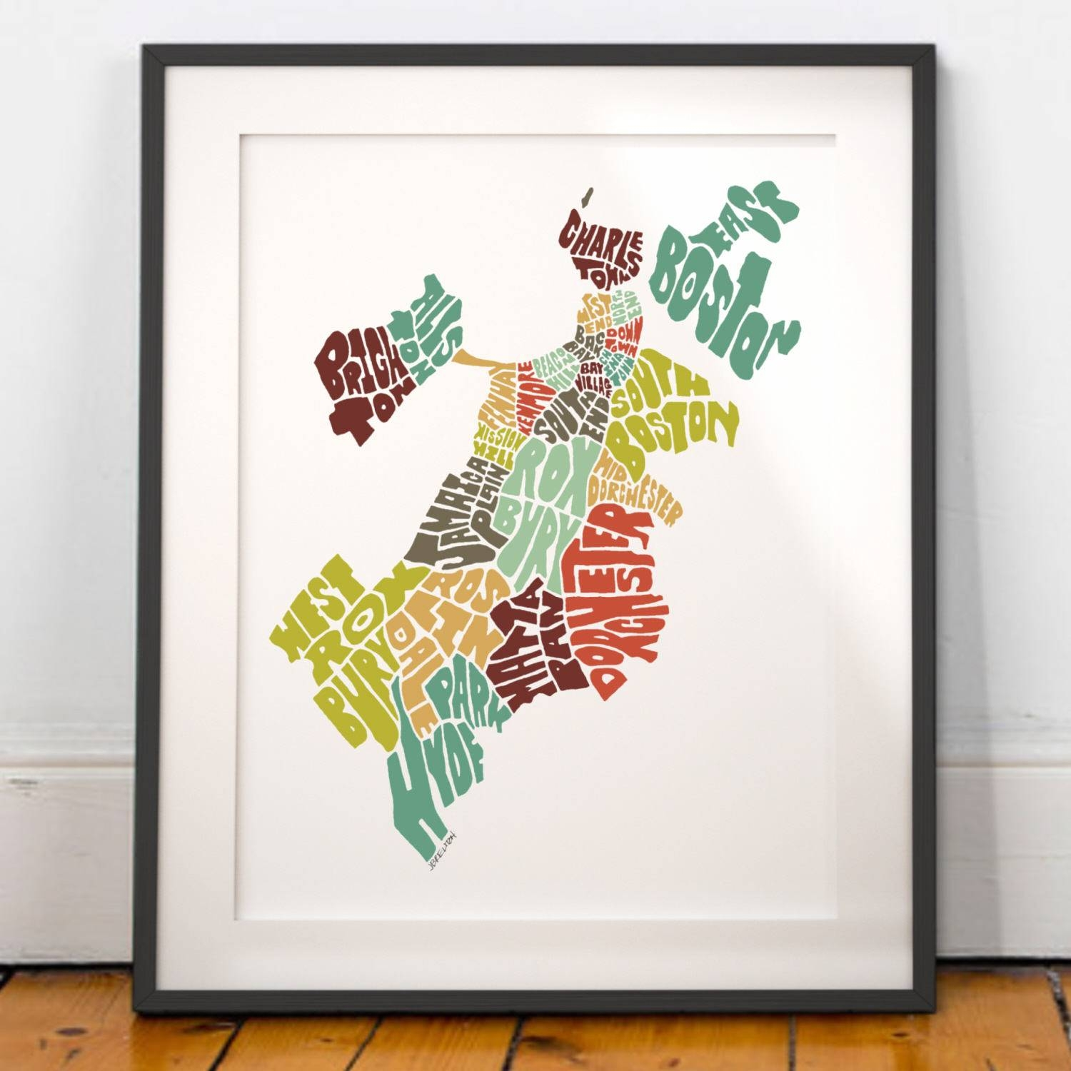 Boston Typography Map Boston Map Art Boston Neighborhoods Within Newest Boston Map Wall Art (View 19 of 20)