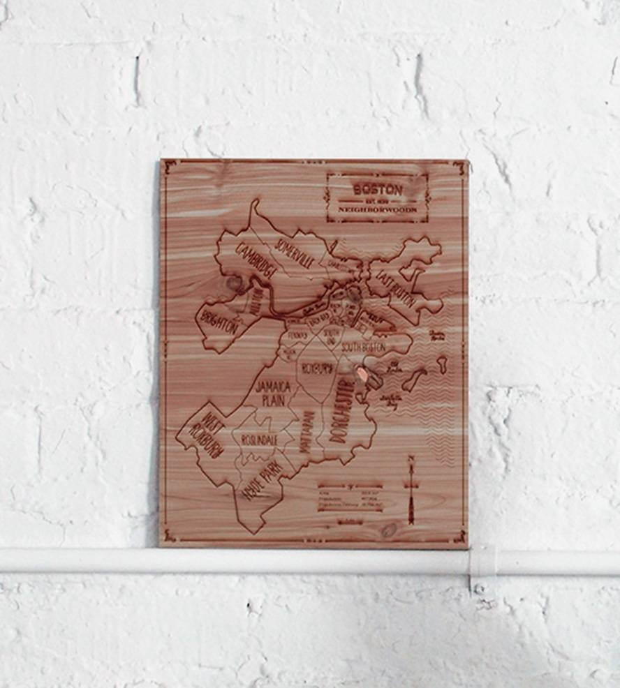 Boston Wood Map | Art Art Pieces | Neighborwoods | Scoutmob Regarding Most Popular Boston Map Wall Art (View 11 of 20)