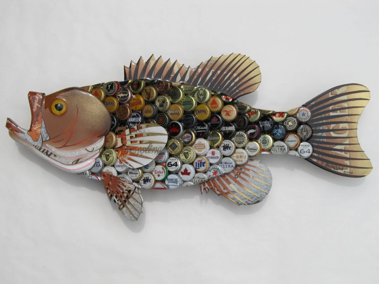 Bottlecap Fish Metal Wall Art Large Mouth Bass With Regard To Most Recent Fish Metal Wall Art (View 2 of 20)