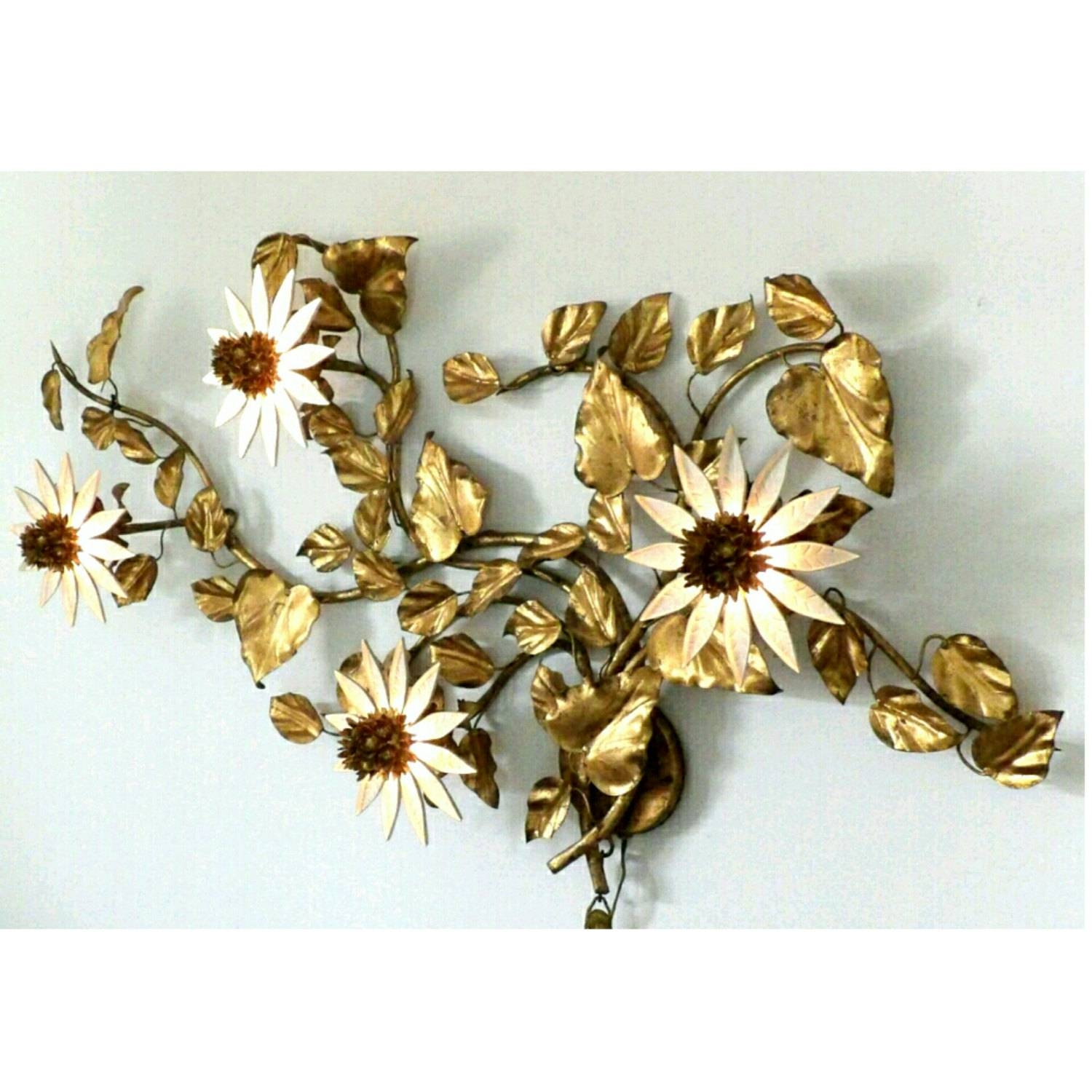 Brevettato Italian Lighted Metal Wall Art Sconce Floral With Regard To Latest Floral Metal Wall Art (View 16 of 20)