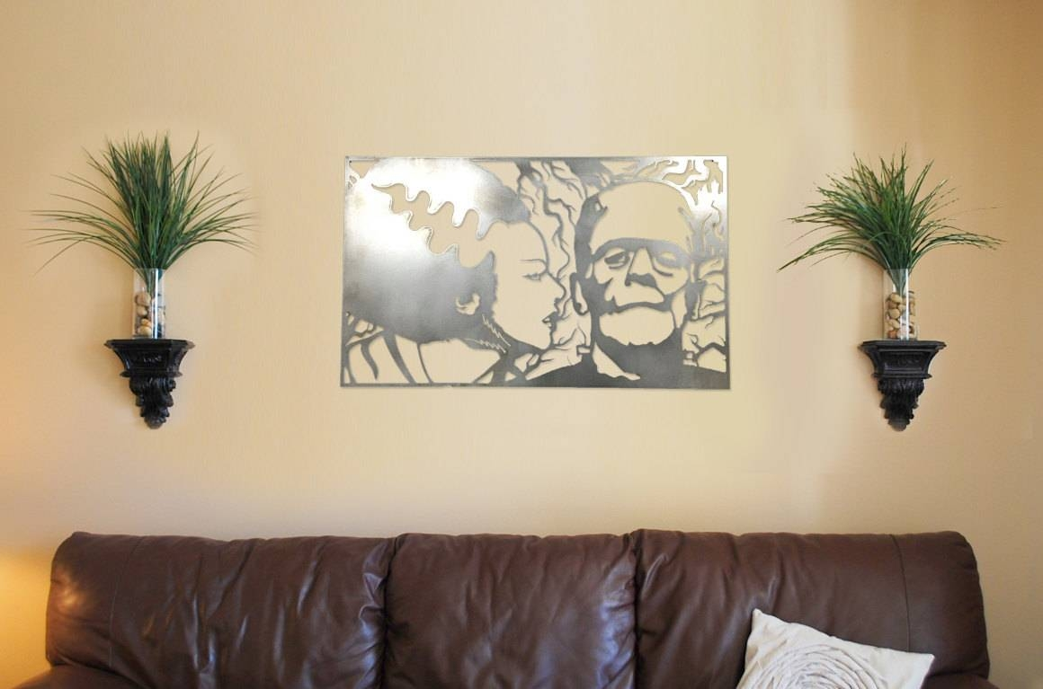 Bride & Frankenstein Metal Wall Art Home Decor | Zug Monster Signs Regarding Newest Home Metal Wall Art (View 18 of 20)