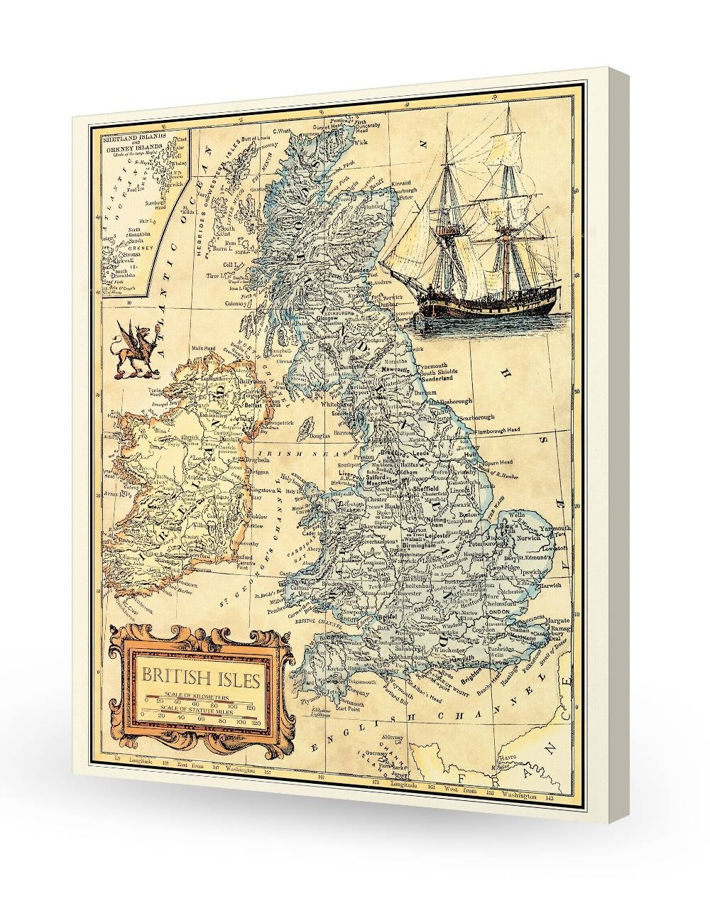 British Isles Old Map Wall Art. Giclee Print Decoration (View 8 of 20)