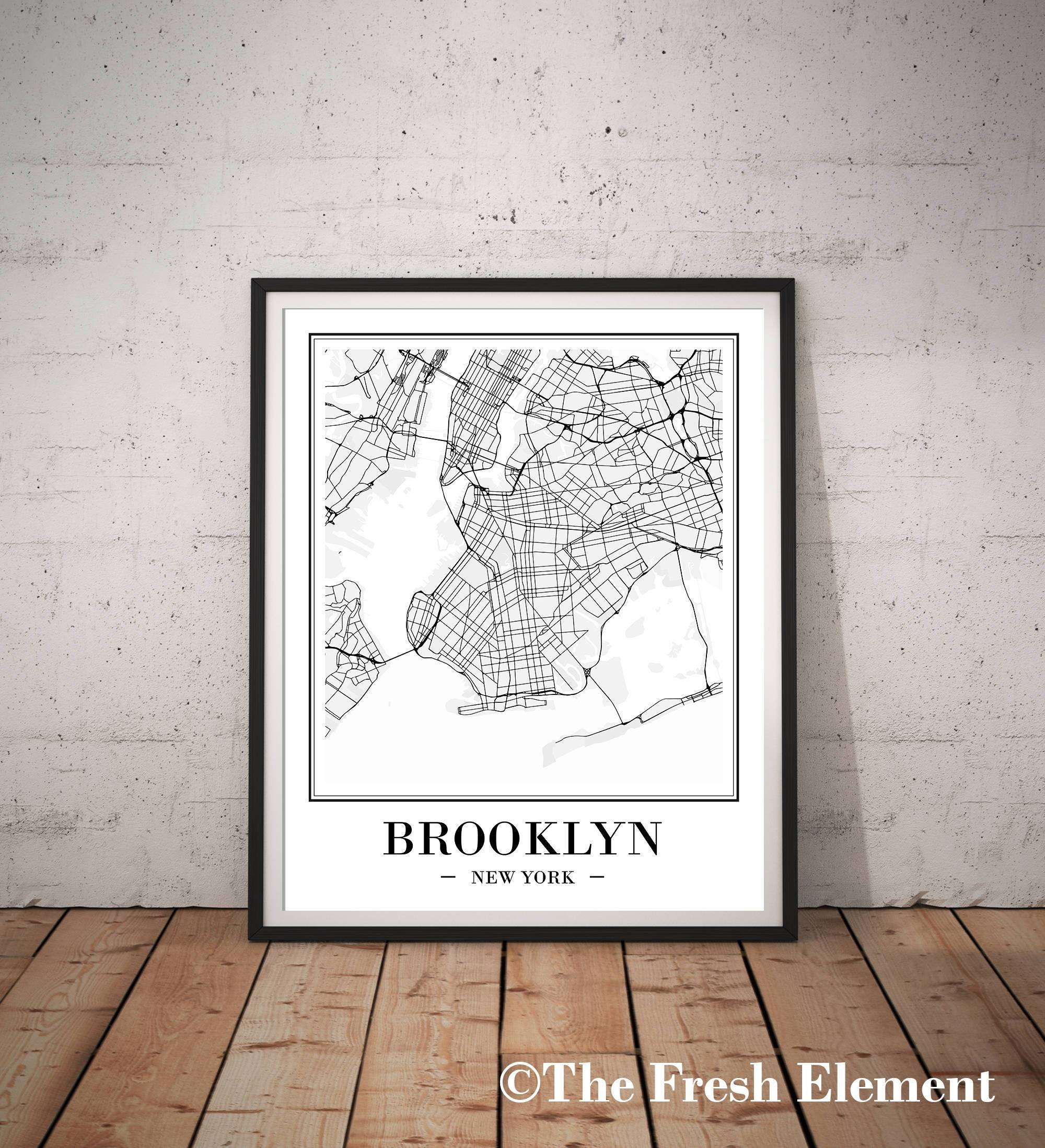 Brooklyn Map Art Printable Map Of Brooklyn Print Brooklyn Within Most Recent Brooklyn Map Wall Art (View 7 of 20)
