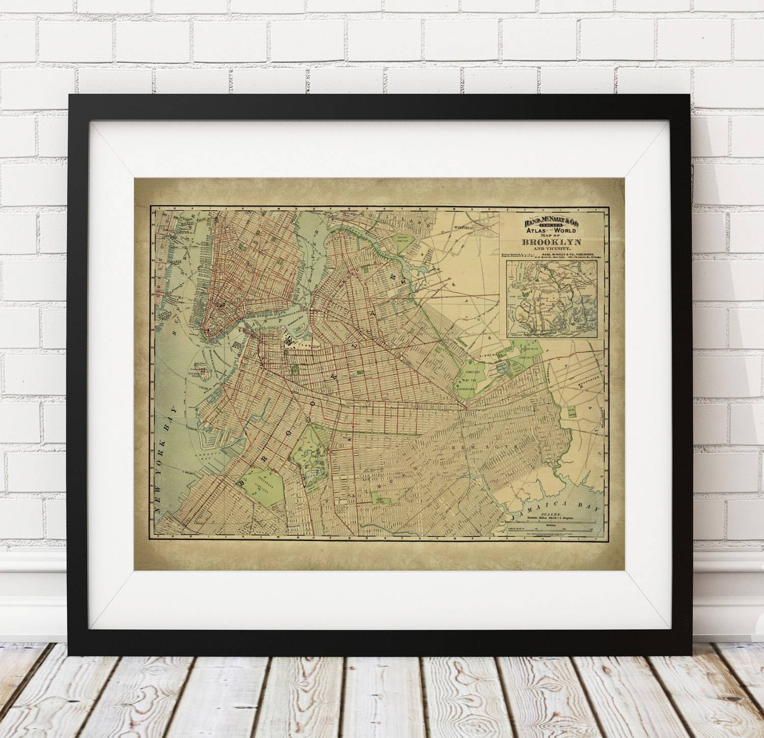 Brooklyn Map Print, Vintage Map Art, Antique Map Wall Decor, New With Regard To Most Popular Brooklyn Map Wall Art (View 10 of 20)