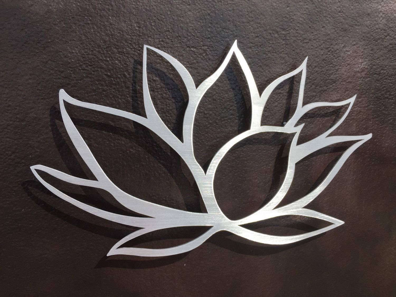 Brushed Lotus Flower Metal Wall Art Lotus Metal Art Home With Latest Brushed Metal Wall Art (View 7 of 20)