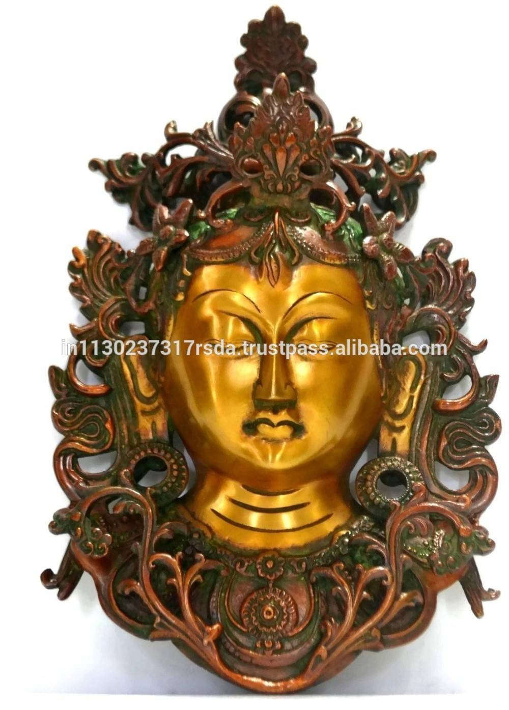 Buddha Lady Wall Hanging Bronze Sculpture Tara Buddha Mask Art Regarding Current Buddha Metal Wall Art (View 5 of 20)