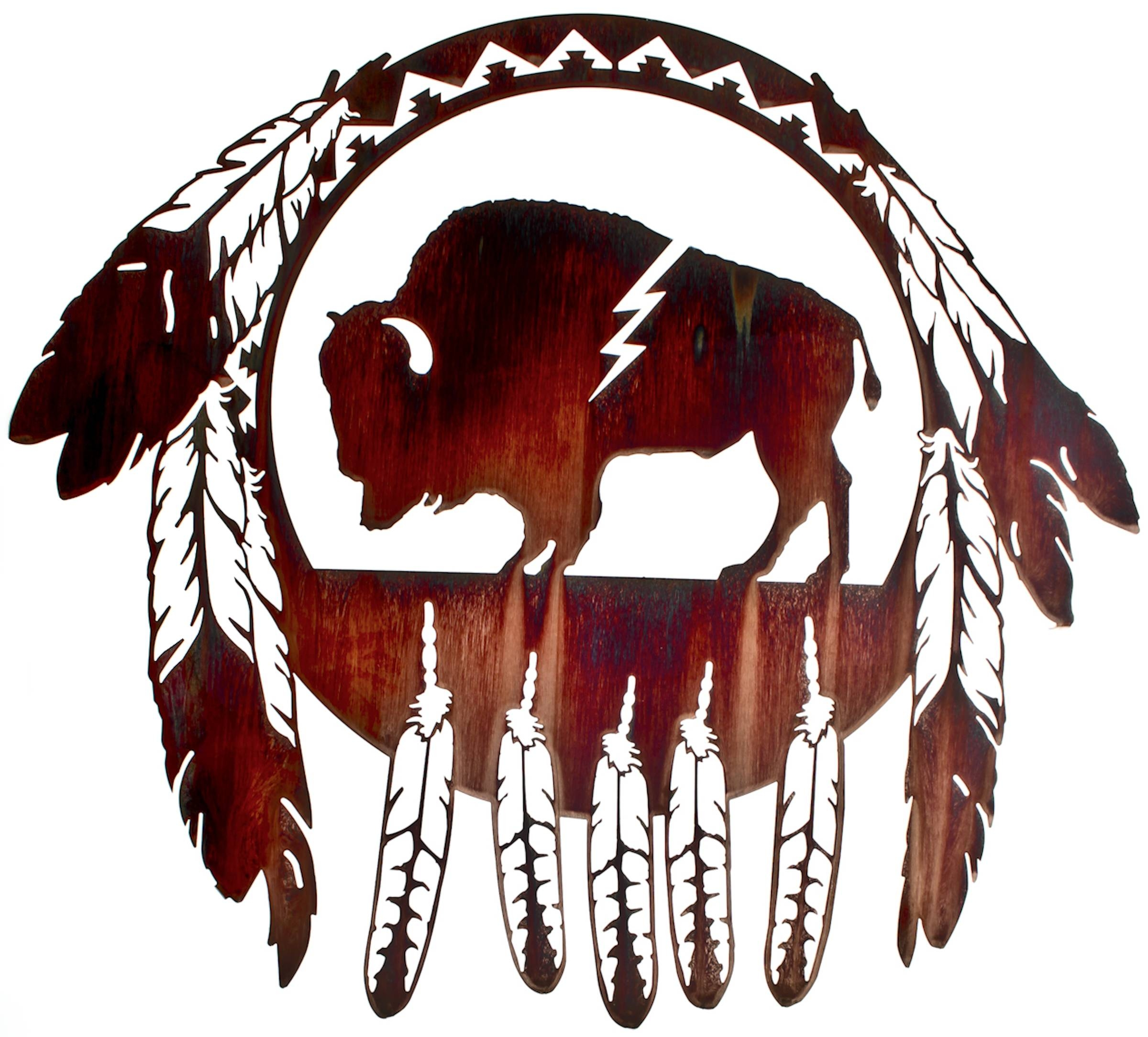 Buffalo Wall Art, Buffalo Wall Hangings, Metal Wall Sculptures Regarding Newest Native American Metal Wall Art (View 3 of 20)