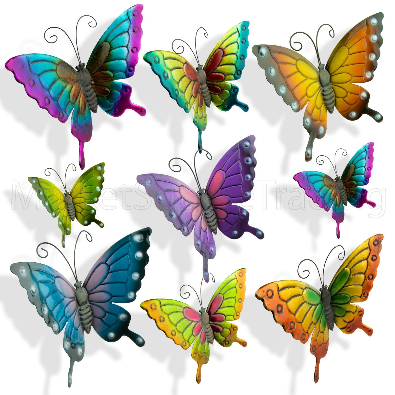 Butterflies Garden Decoration Multi Coloured Metal Outdoor Regarding 2017 Butterfly Garden Metal Wall Art (View 2 of 20)