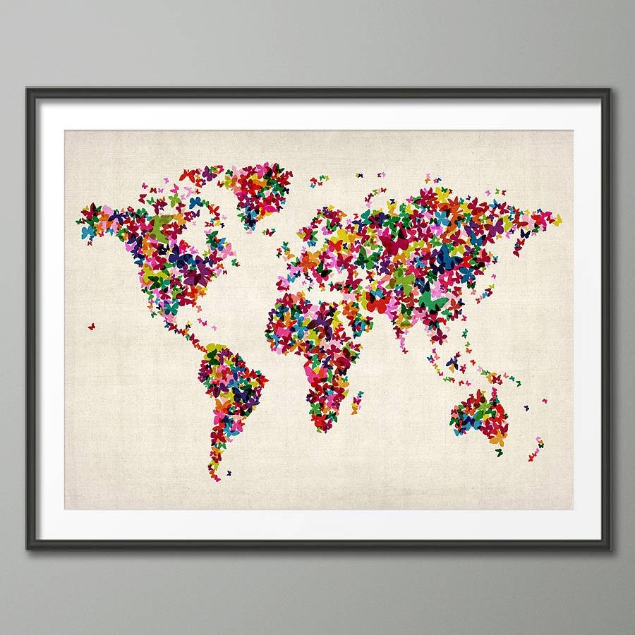Butterflies Map Of The World Art Printartpause With Most Up To Date Butterfly Map Wall Art (View 5 of 20)