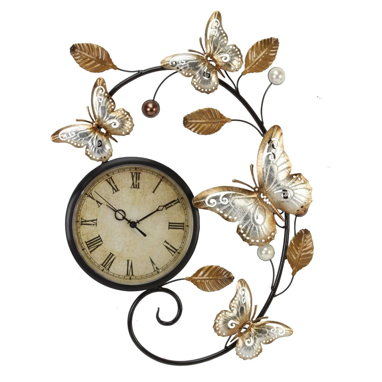 Butterflies Metal Wall Art And Wall Clock Intended For Recent Large Metal Wall Art Clocks (View 4 of 20)