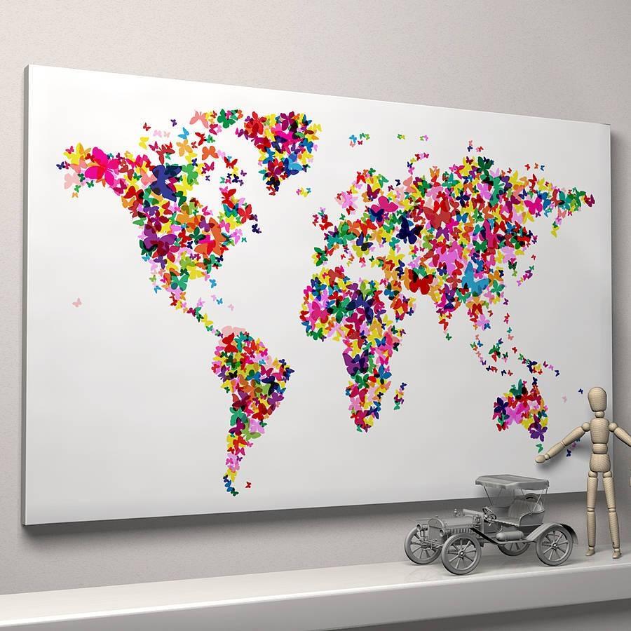 Butterflies World Map Art Printartpause | Notonthehighstreet With Regard To Newest World Map Wall Art Print (View 5 of 20)