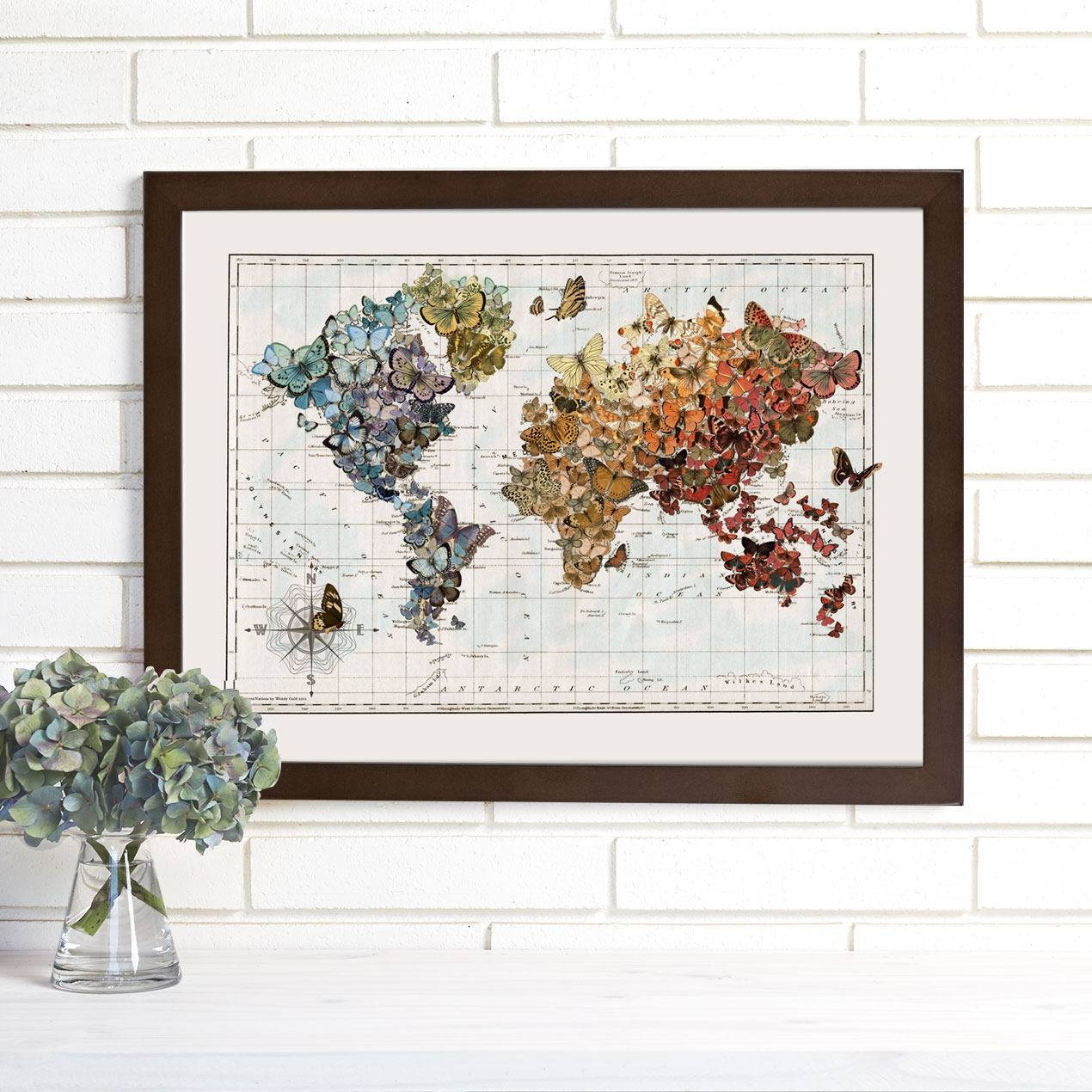 Butterfly Map Art Butterfly Migration Vintage Butterflies For Recent Butterfly Map Wall Art (View 3 of 20)