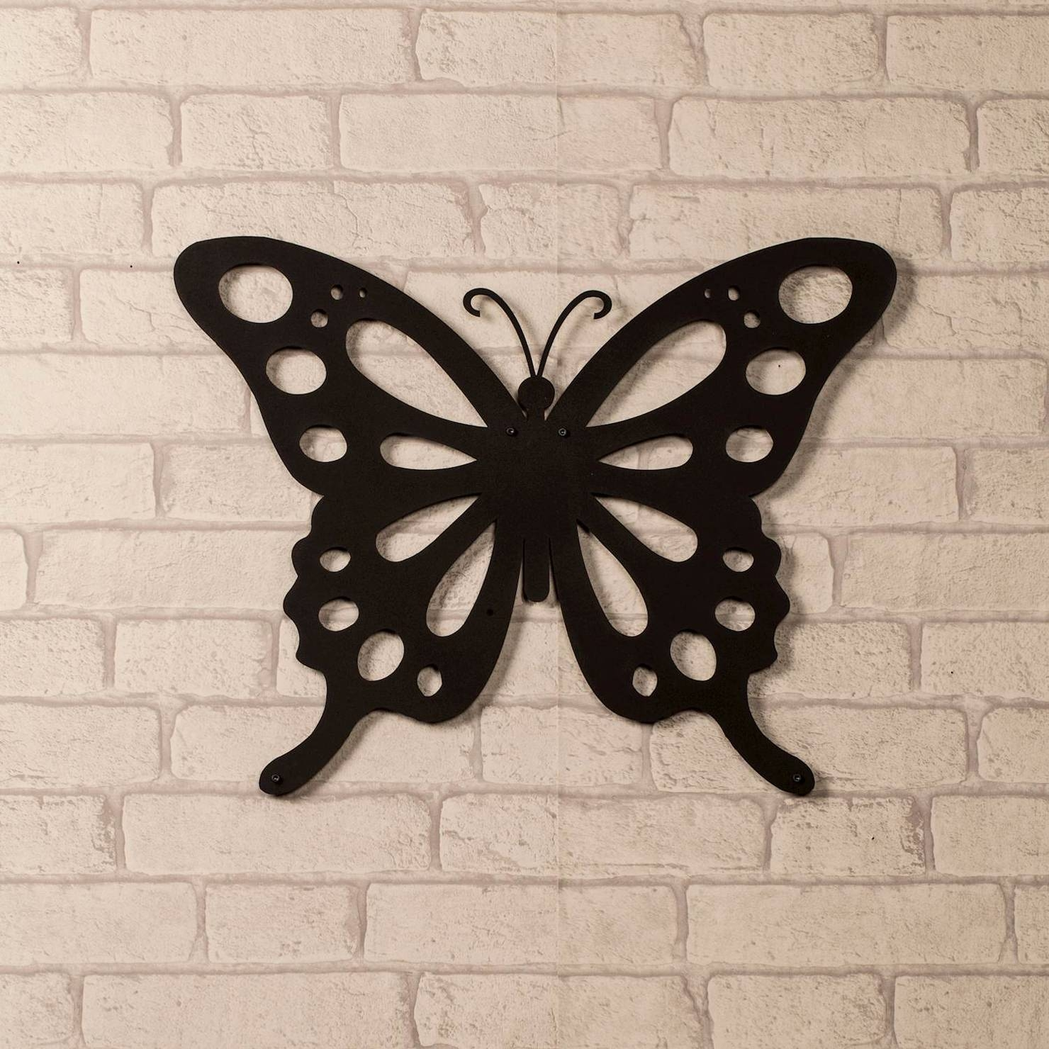 Butterfly Metal Wall Art, Black | Achica Intended For 2018 Butterfly Metal Wall Art (View 9 of 20)