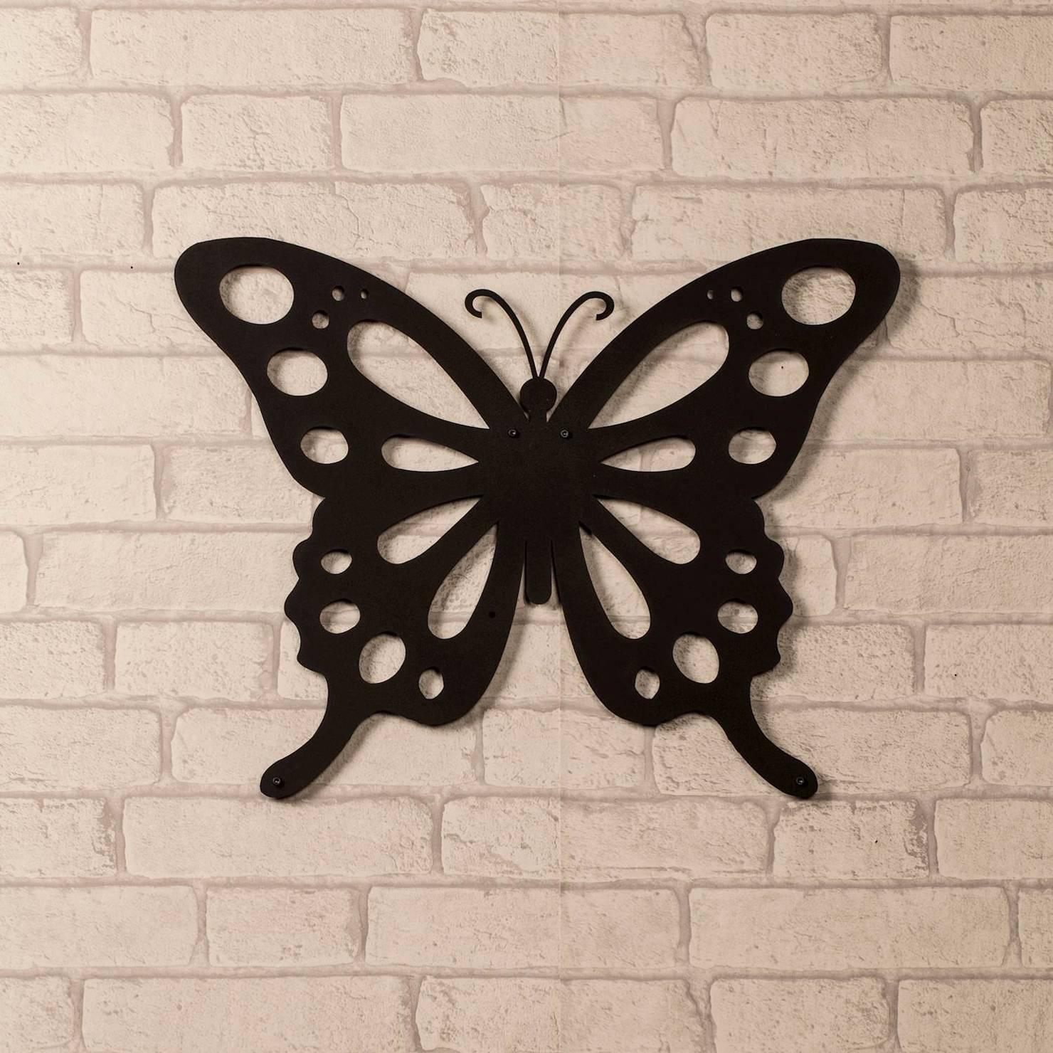 Butterfly Metal Wall Art, Black | Achica Intended For 2018 Butterfly Metal Wall Art (View 6 of 20)