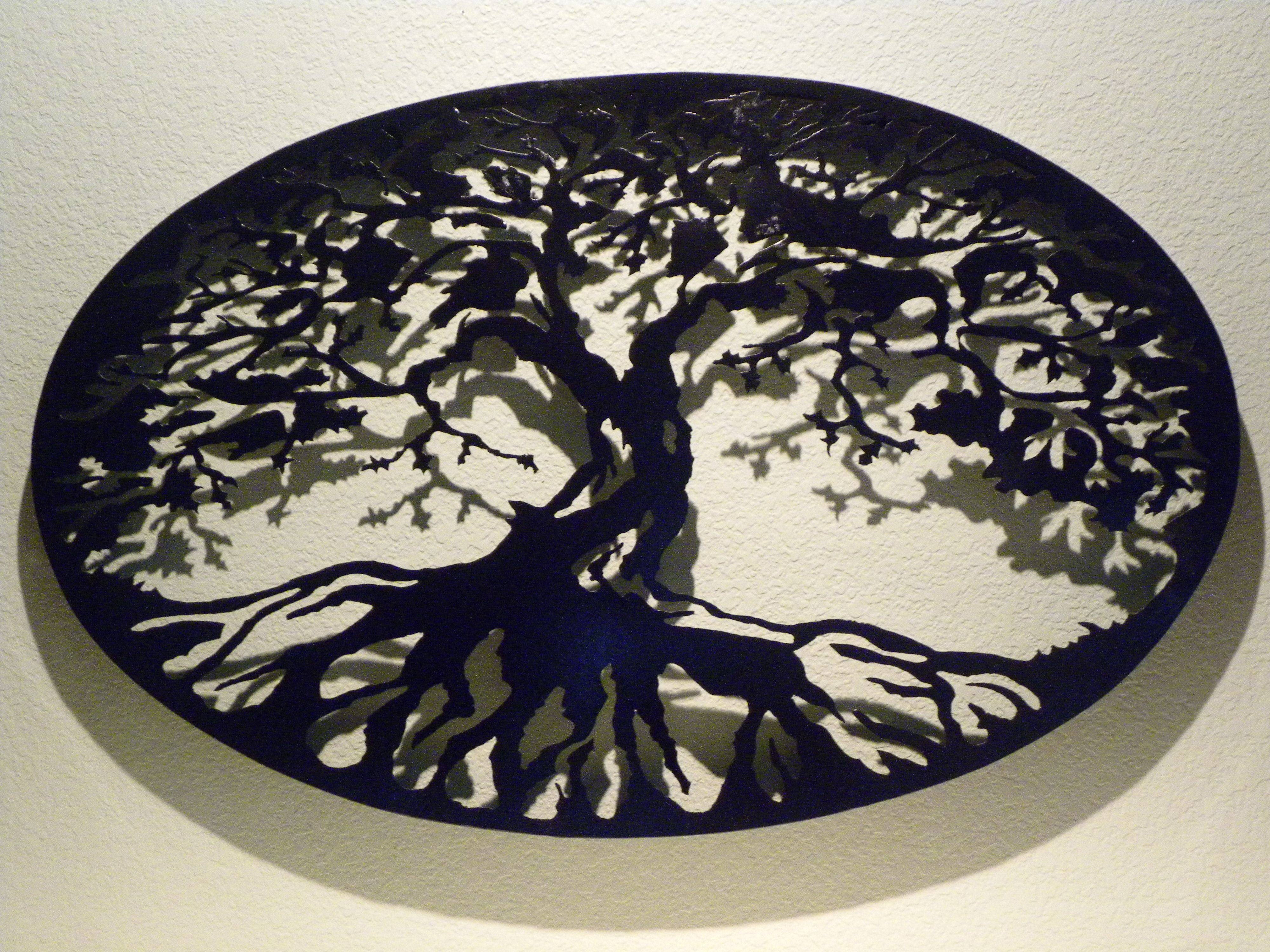 Buy A Custom Oval Tree Of Life Metal Wall Art, Made To Order From Intended For Newest Black And White Metal Wall Art (View 4 of 20)