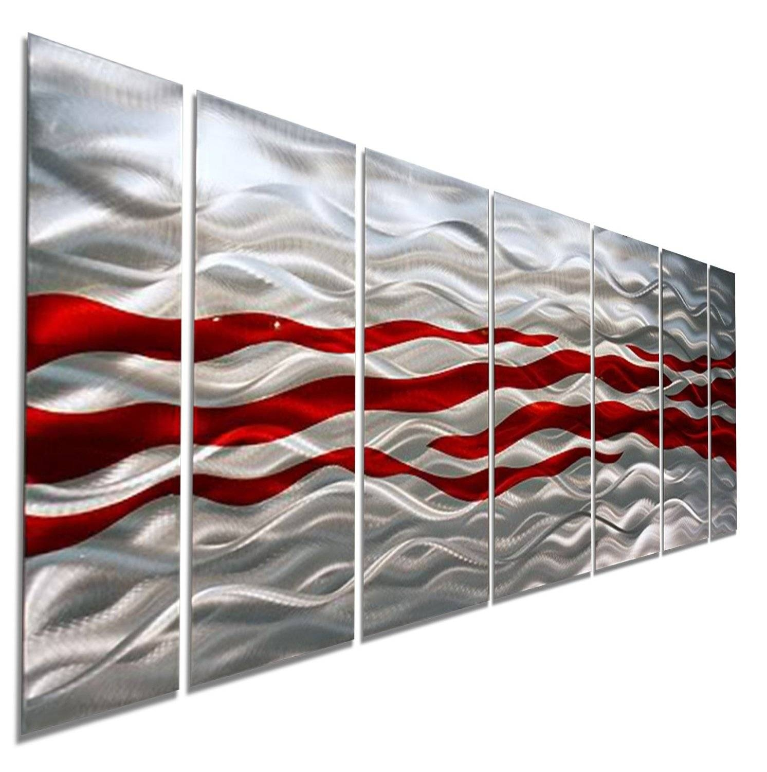 Caliente – Red & Silver Modern Abstract Metal Wall Artjon Within 2018 Modern Abstract Metal Wall Art (View 6 of 20)