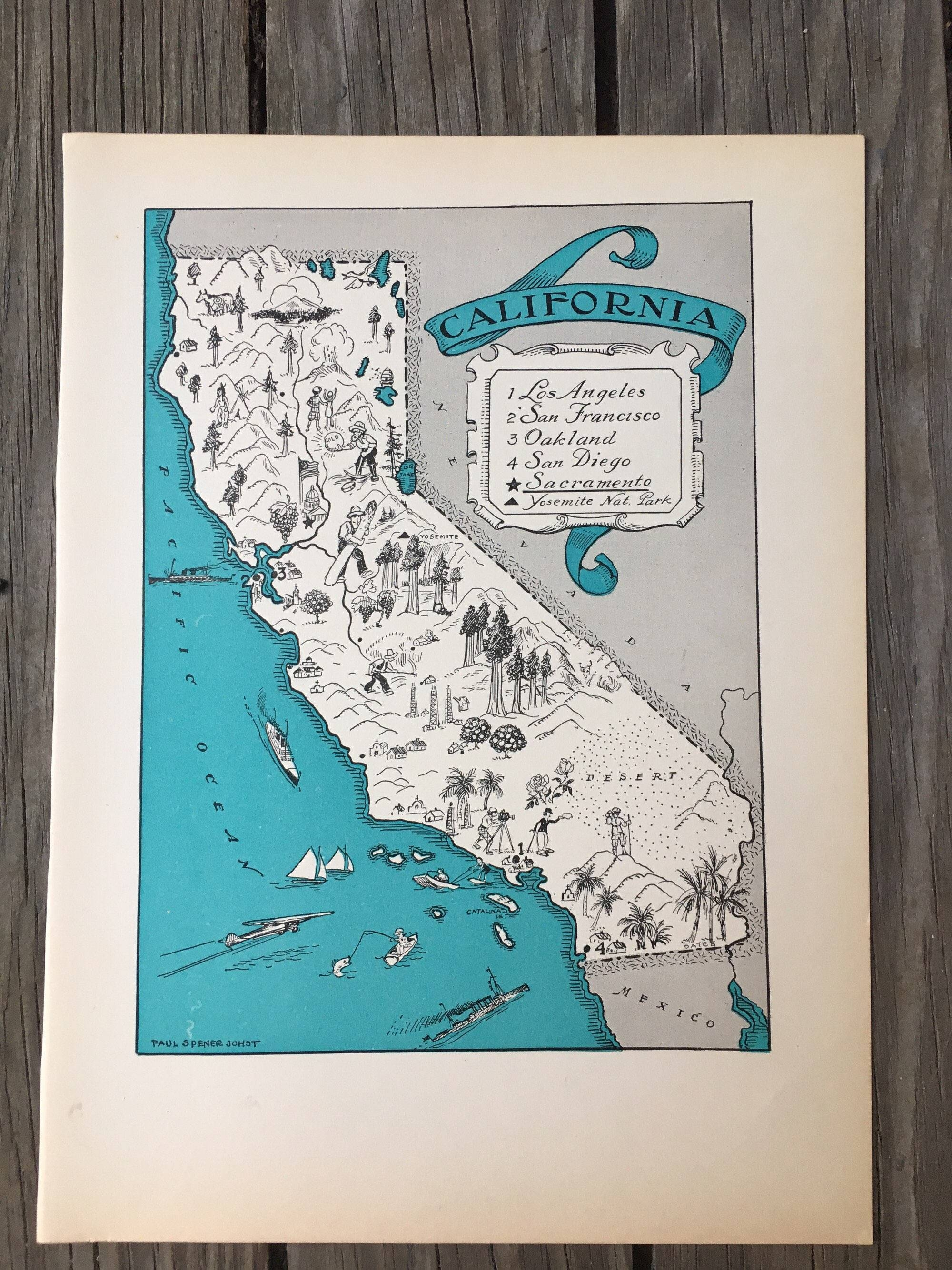 California Map Print / 1930S Vintage Map Art / California Inside 2018 San Diego Map Wall Art (View 2 of 20)