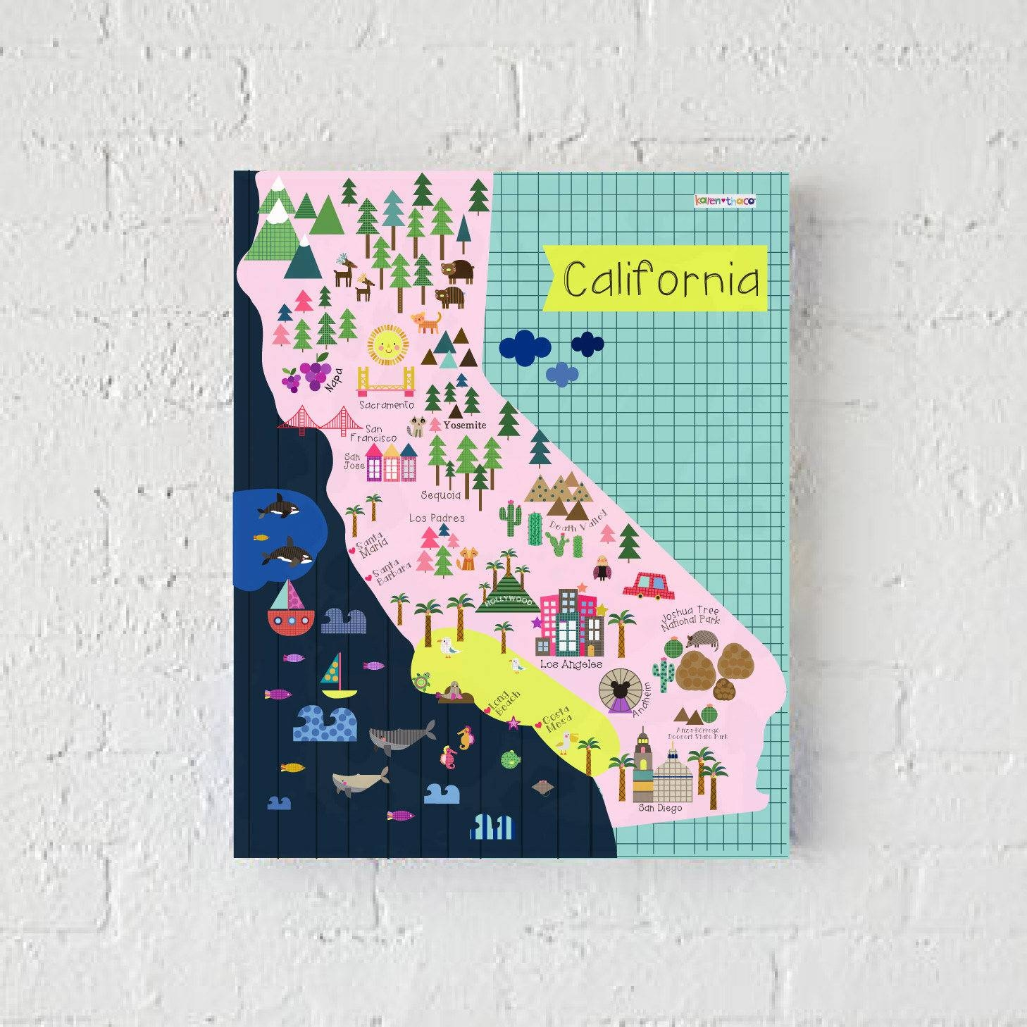 California Map Wall Print Decor Kids California Throughout Most Up To Date San Diego Map Wall Art (View 18 of 20)