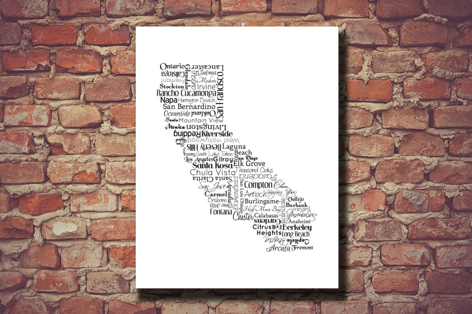 California Print California Map Ca State Art Map San Inside Most Up To Date San Diego Map Wall Art (View 4 of 20)
