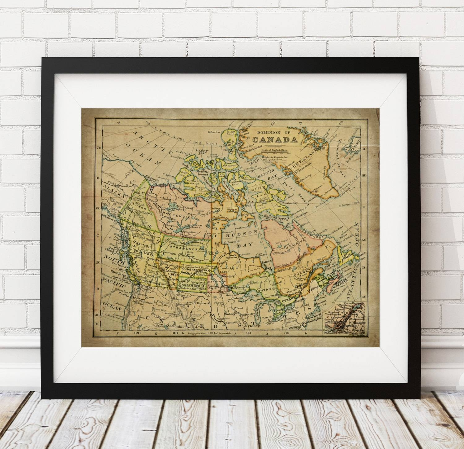 Canada Map Print, Vintage Map Art, Antique Map Wall Decor For Most Recently Released Map Wall Art Canada (View 2 of 20)