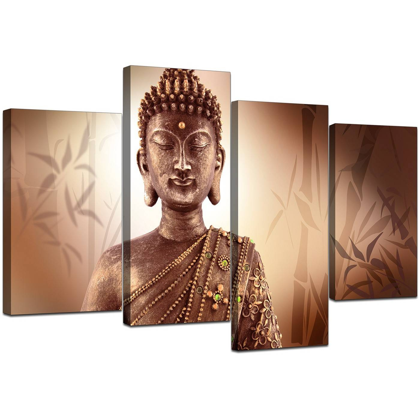 Canvas Wall Art Of Buddha In Brown For Your Hallway Inside Latest Buddha Metal Wall Art (View 7 of 20)
