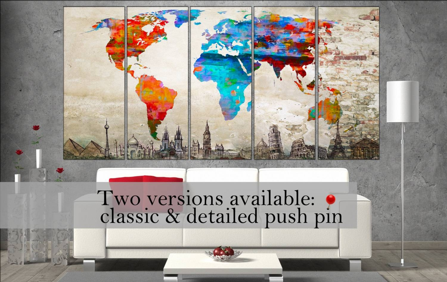 Canvas Wall Art World Map Canvas Wall Art Canvas Wall Art Art Intended For Most Up To Date Map Wall Art Prints (View 2 of 20)