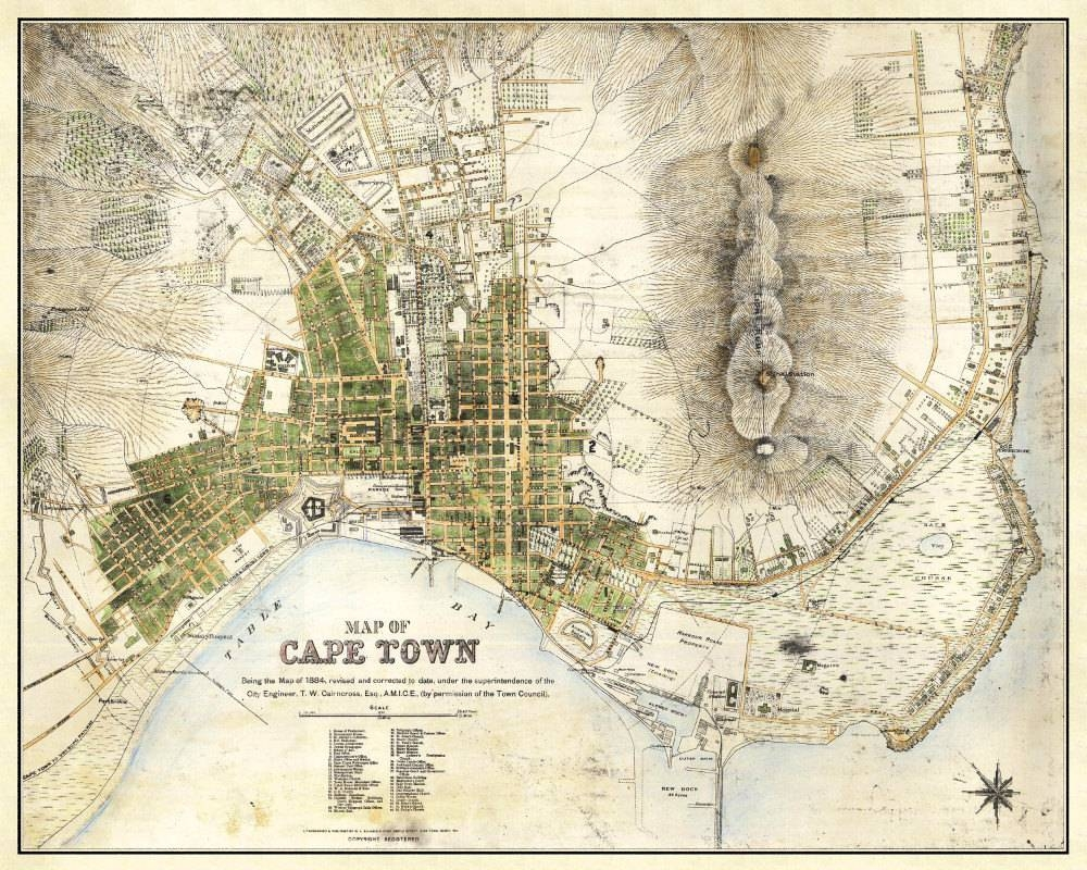 Cape Town Map Vintage South African Atlas Poster Cape Town Throughout 2018 Street Map Wall Art (View 2 of 20)