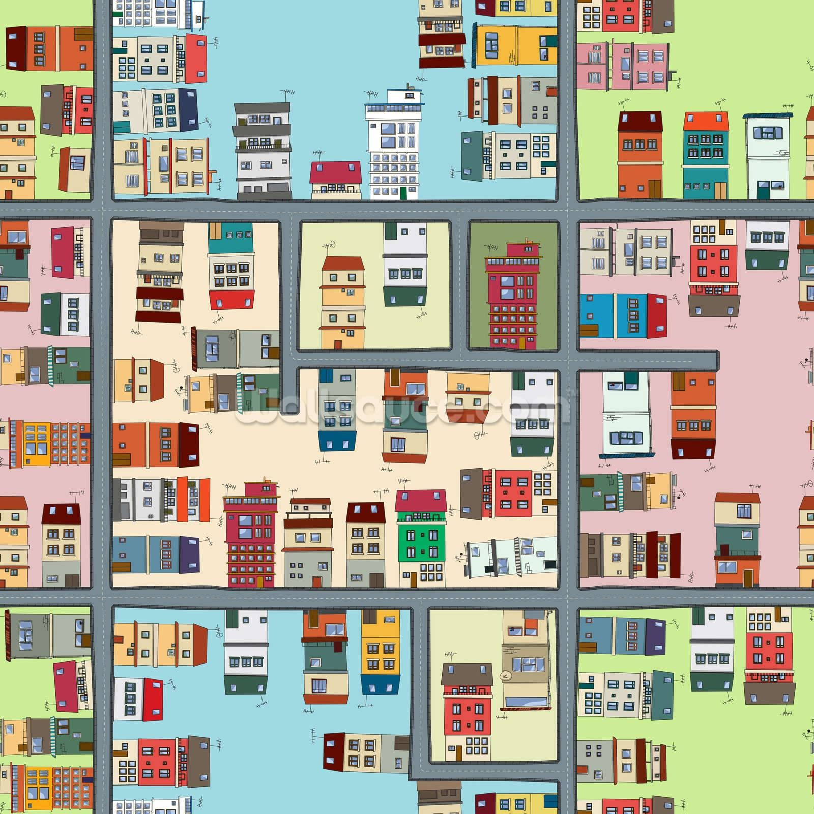 Cartoon Street Map Wallpaper Wall Mural | Wallsauce Usa With Regard To 2018 Street Map Wall Art (View 3 of 20)
