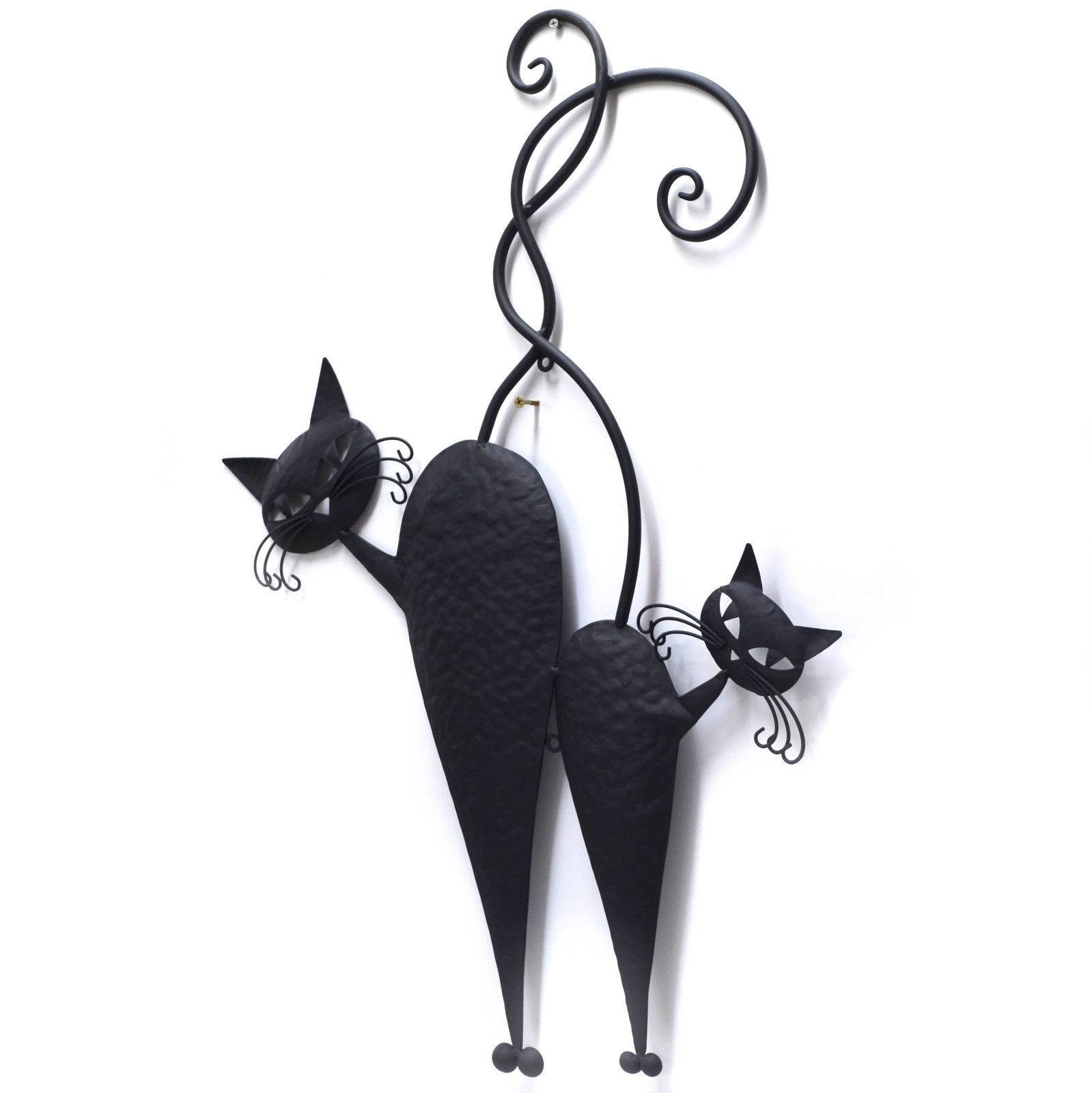Cat Pair Metal Wall Art Black 71Cm Throughout Most Popular Cat Metal Wall Art (View 8 of 20)