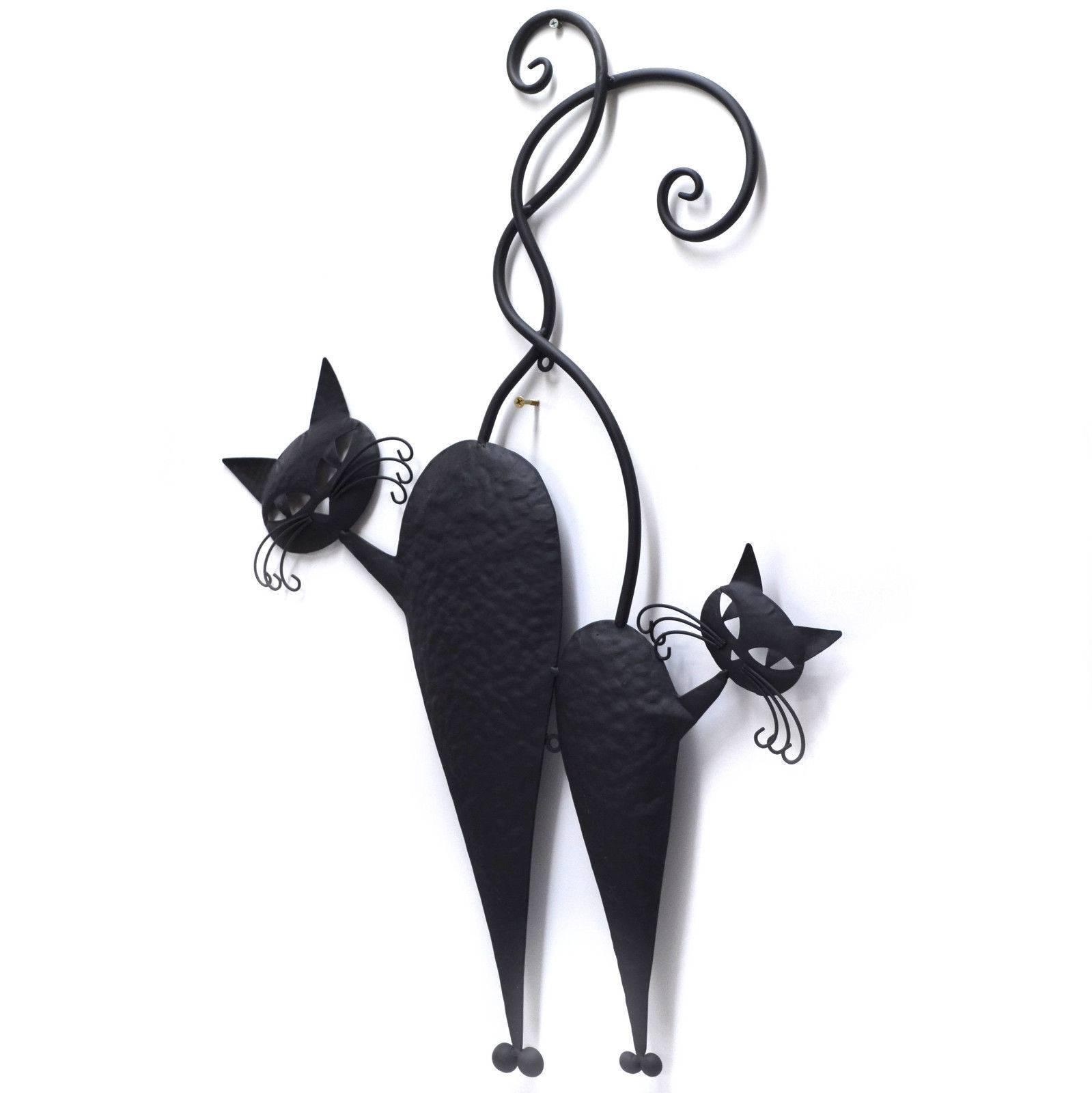 Cat Pair Metal Wall Art Black 71cm Throughout Most Popular Cat Metal Wall Art (View 16 of 20)