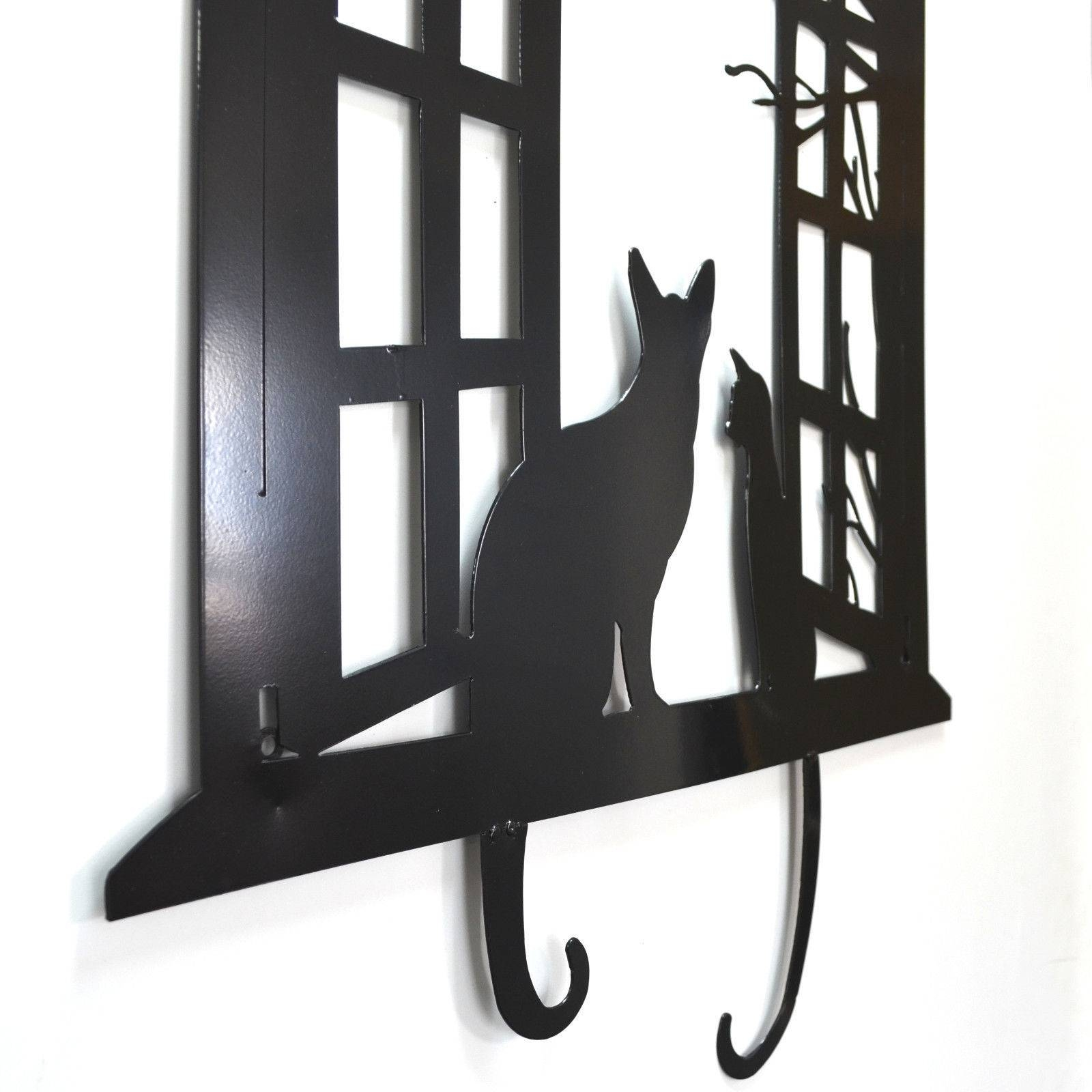 Cats In Window Lasercut Metal Wall Art 73Cm With Regard To Most Recent Cat Metal Wall Art (View 11 of 20)
