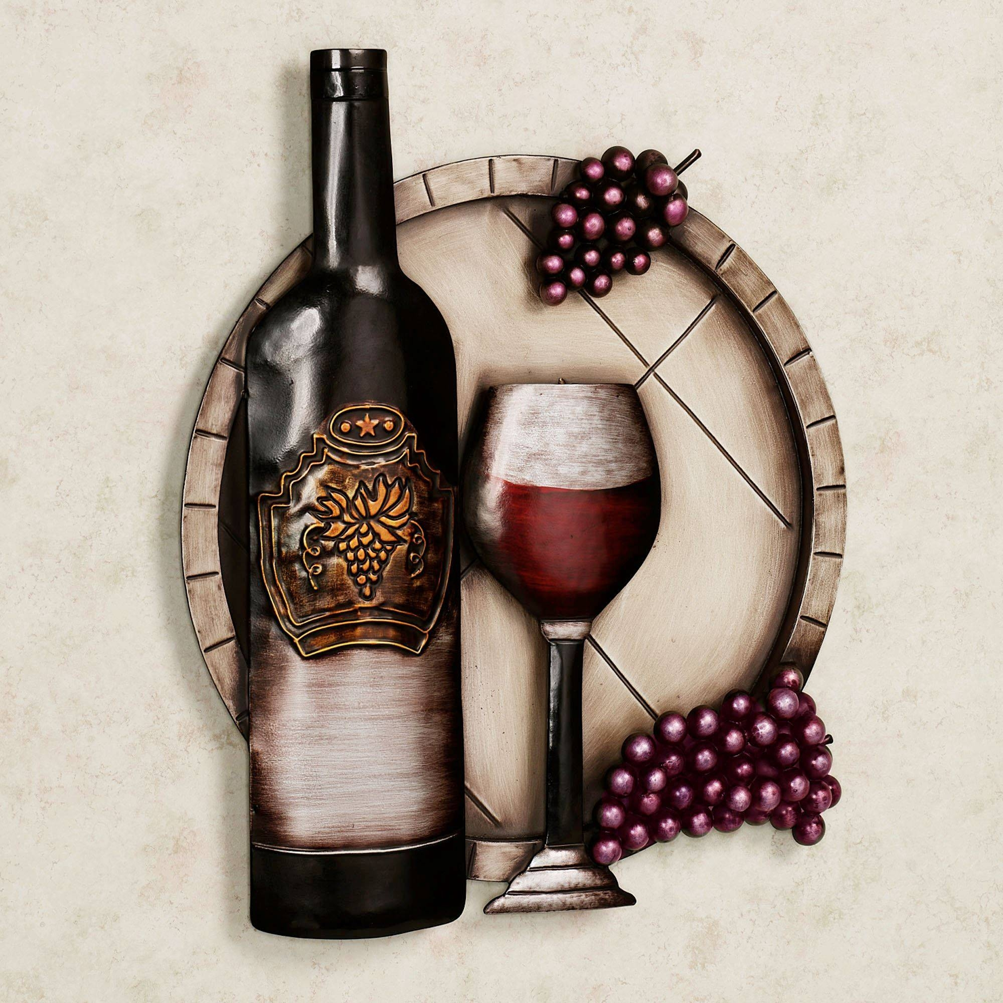 Cellar Reds Wine And Grape Metal Wall Art With Regard To Latest Wine Bottle Metal Wall Art (View 3 of 20)