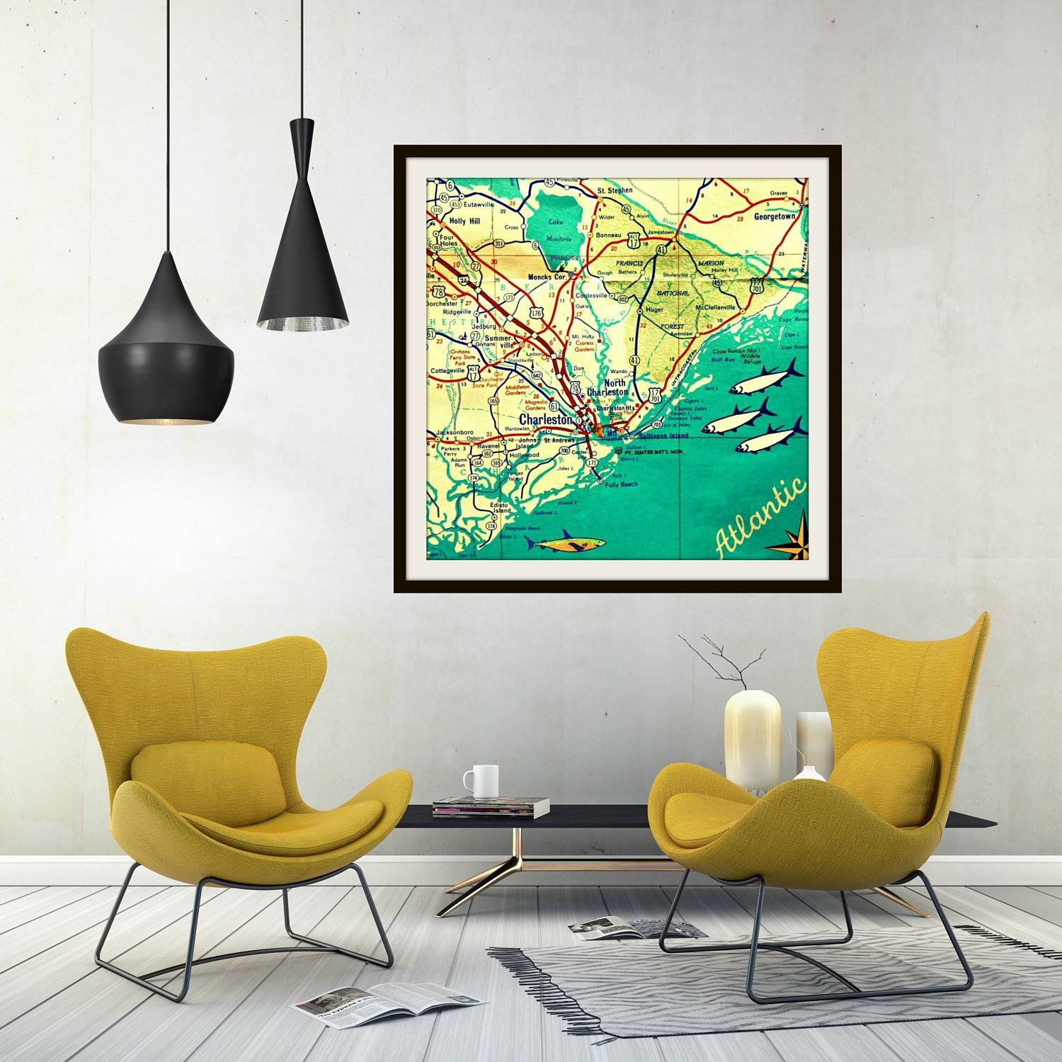 Charleston Map Art Map Wall Art Gift For Dad South Carolina With Latest Custom Map Wall Art (View 1 of 20)