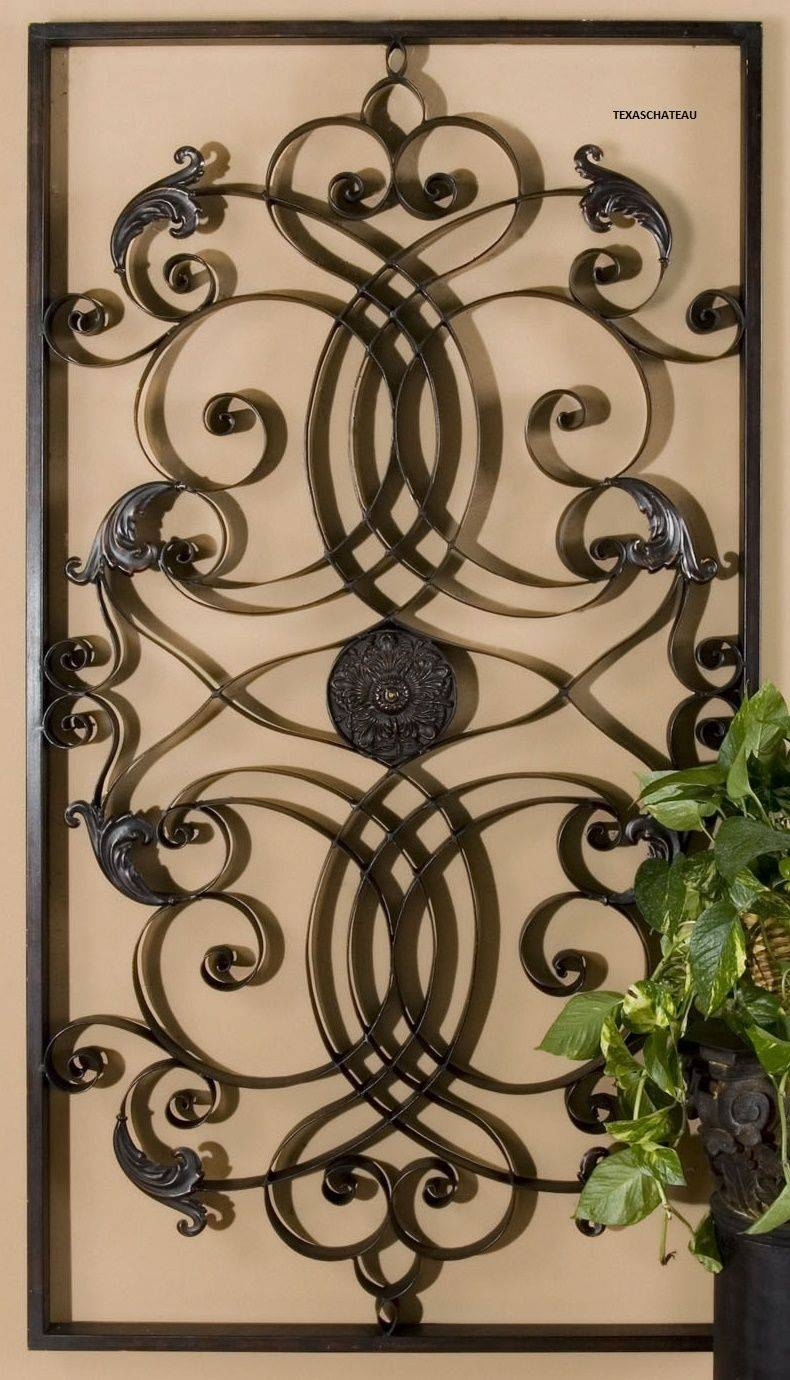 Chic Tuscan Fleur De Lis Hanging Metal Wall Art Panels Image Of With Regard To Most Recently Released Scrolled Metal Wall Art (View 3 of 20)