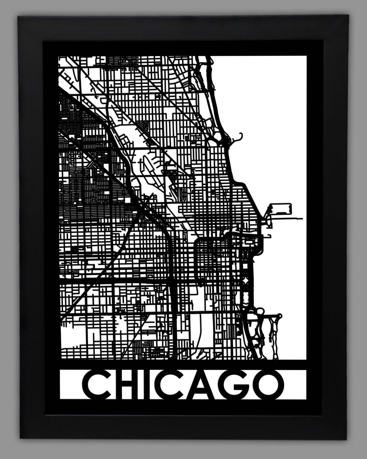 Chicago Laser Cut Map 18X24 Framed City Map City Throughout Newest Chicago Map Wall Art (View 3 of 20)