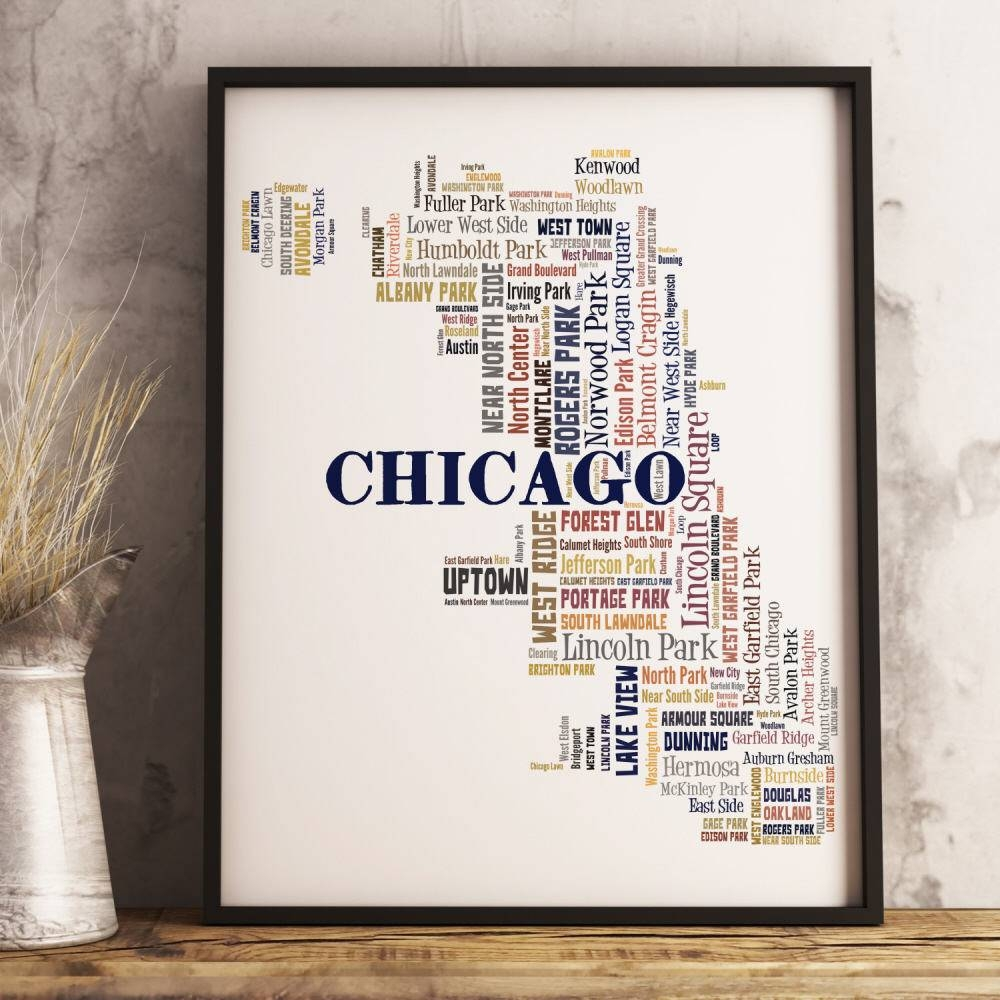 Chicago Map Art Chicago Art Print Chicago Neighborhood Map In Newest Chicago Neighborhood Map Wall Art (View 4 of 20)