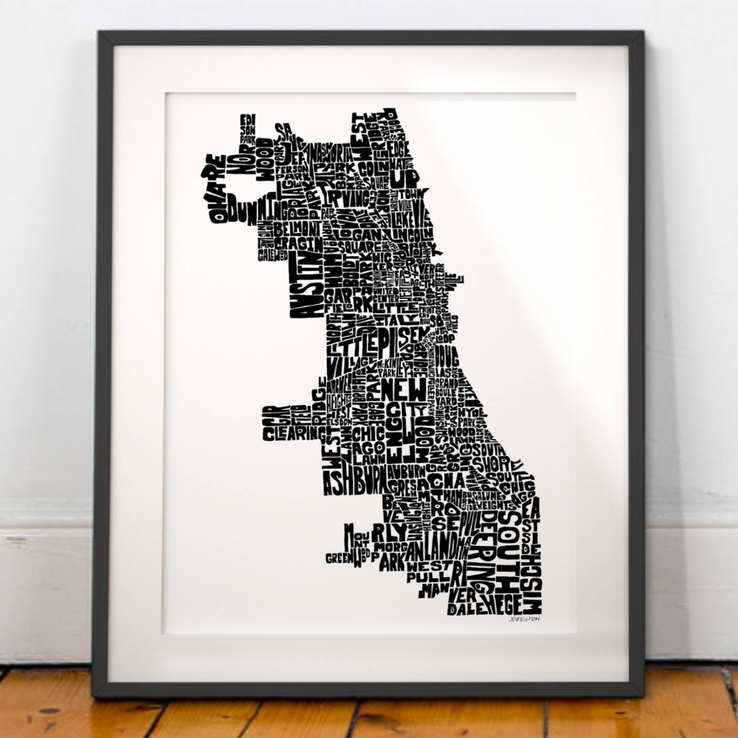 Chicago Map Art Chicago Art Print Chicago Typography Map Pertaining To Most Current Chicago Map Wall Art (View 12 of 20)