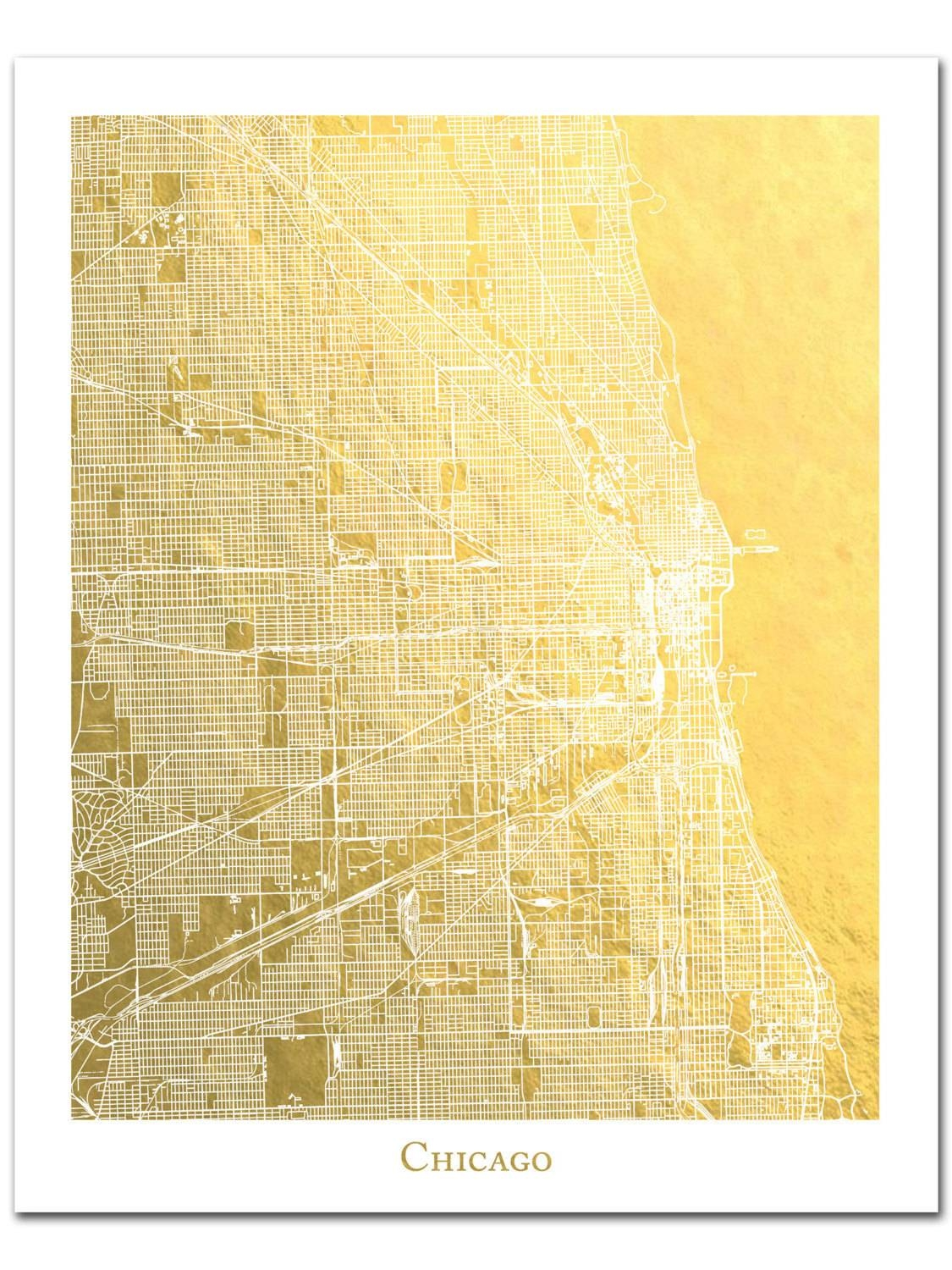 Chicago Map Chicago Print Gold Foil Print Gold Foil Map™ Throughout Recent Street Map Wall Art (View 6 of 20)