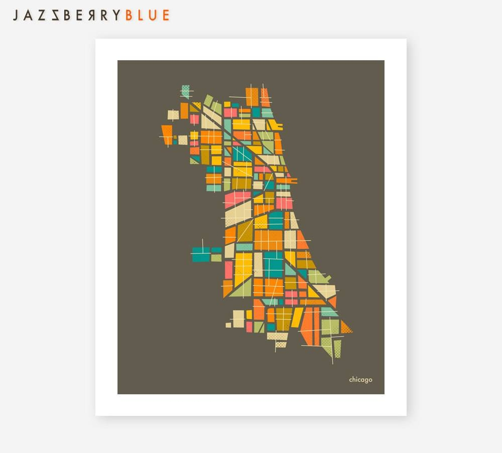 Chicago Map Giclee Fine Art Print Modern Minimal Wall Art Pertaining To Most Popular Chicago Map Wall Art (View 6 of 20)