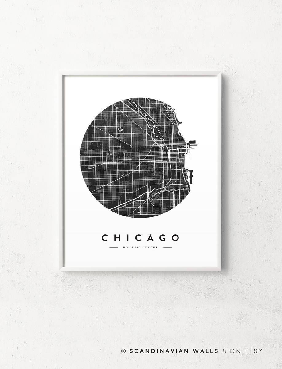 Chicago Map Print Chicago Poster Chicago Print Chicago City With Regard To Current Chicago Map Wall Art (View 7 of 20)