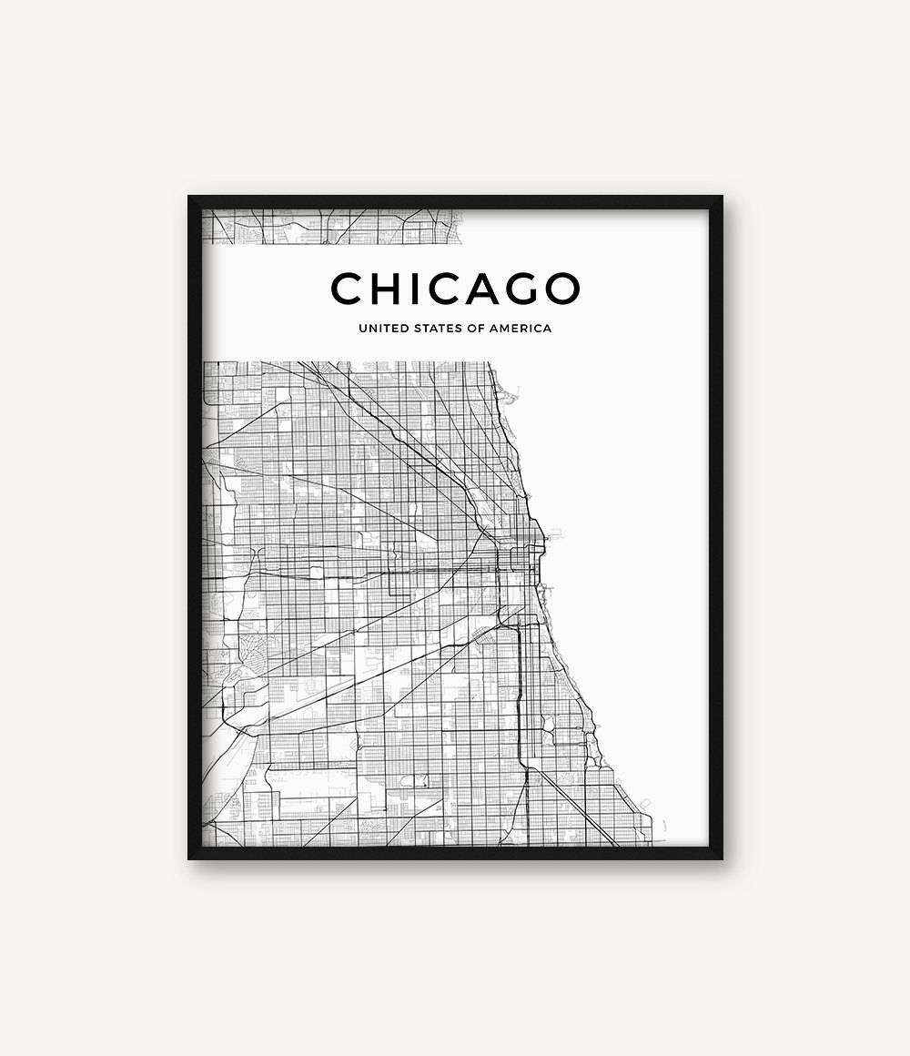 Chicago Map Print Chicago Print Black And White Chicago Wall Within 2017 Chicago Neighborhood Map Wall Art (View 4 of 20)