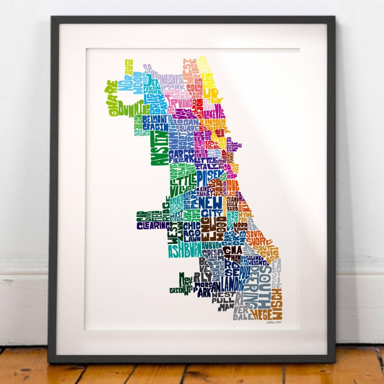 Chicago Neighborhood Map Art Print Chicago Wall Decor Regarding Most Recent Chicago Neighborhood Map Wall Art (View 2 of 20)