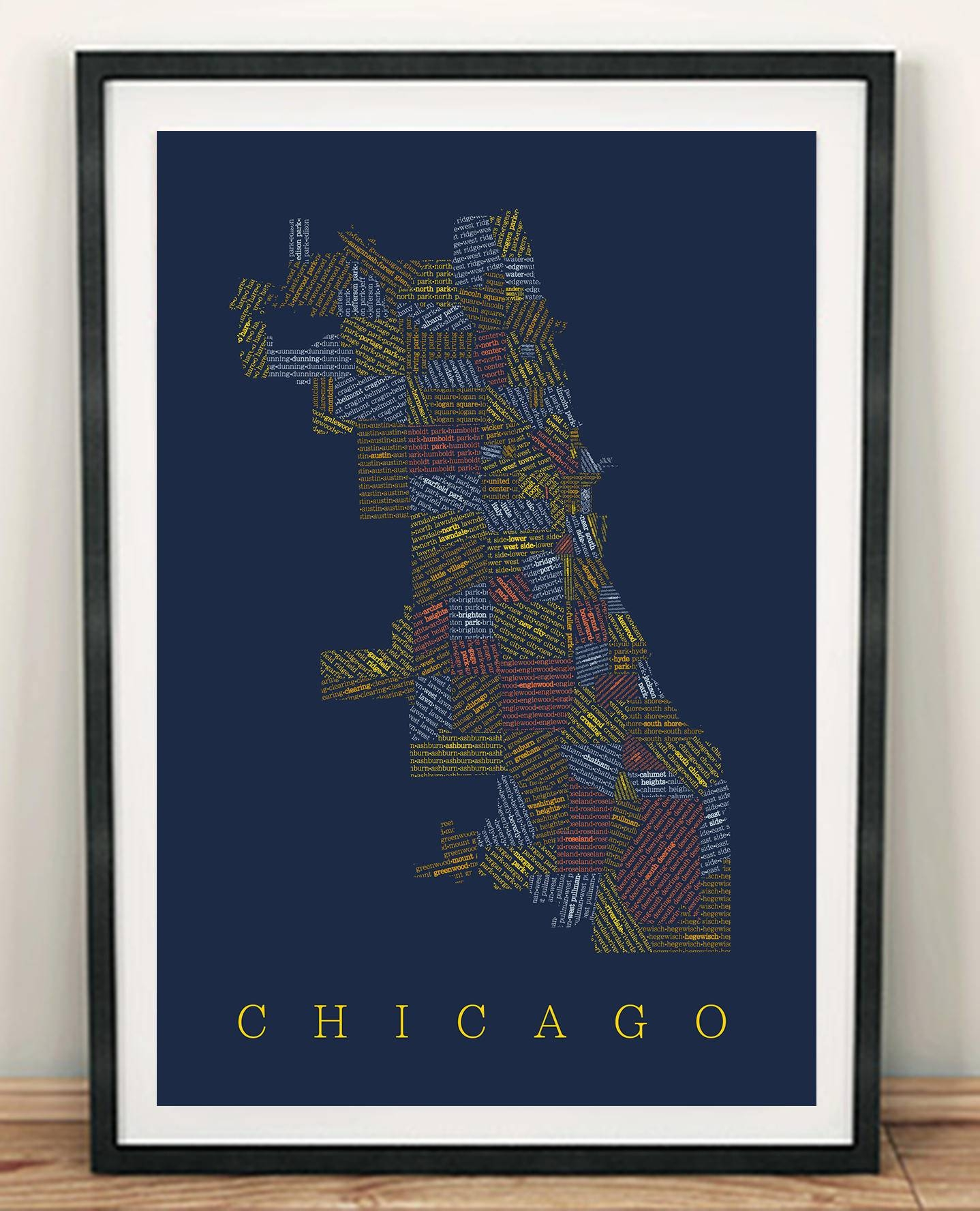 Chicago Neighborhood Map Chicago Map Chicago Art Wall Art Regarding Most Up To Date Chicago Neighborhood Map Wall Art (View 6 of 20)